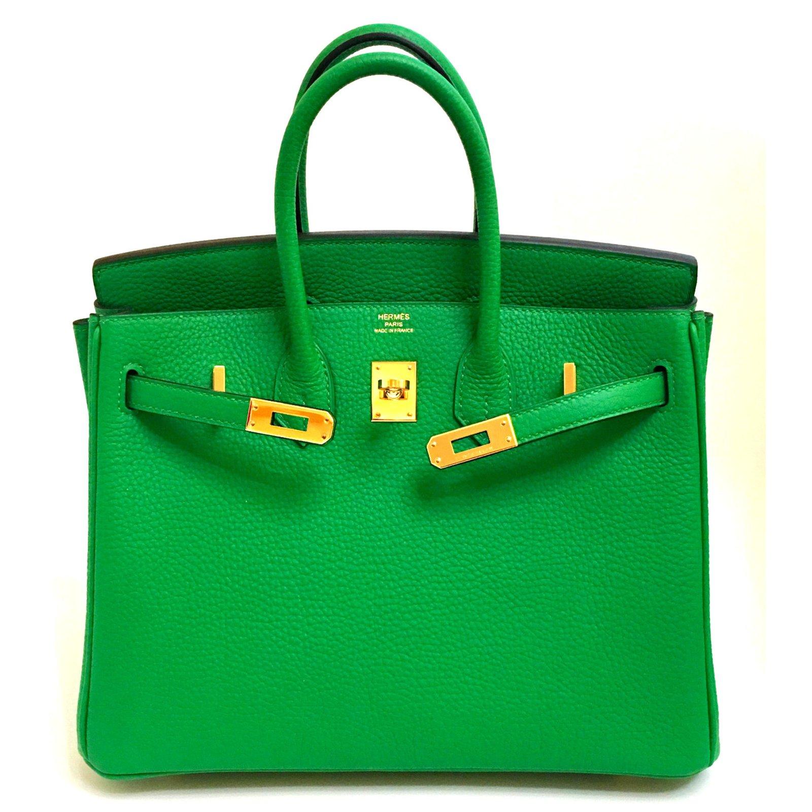 0e4eb0d27667 Hermès Hermes Birkin 25cm Bamboo Togo Leather Gold Hardware Handbags  Leather Green ref.38061 - Joli Closet