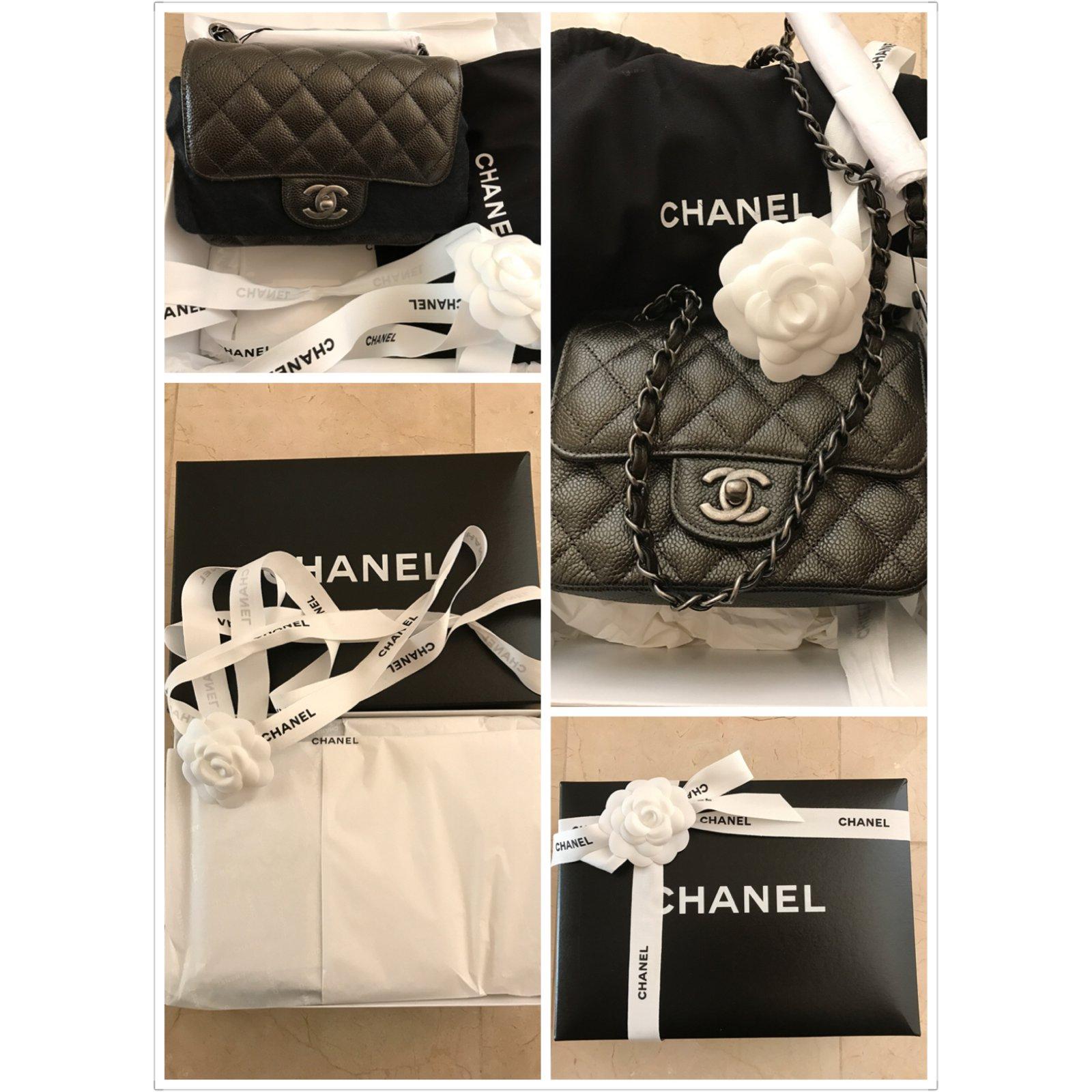 706c3418c0afff Chanel Square Mini Flap Handbags Leather Dark grey ref.38561 - Joli Closet