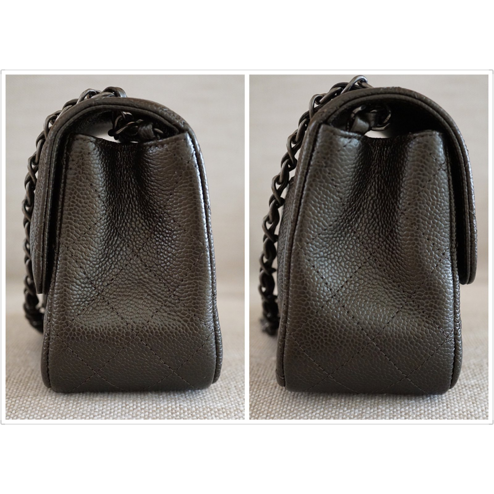 d594e6c2f50a35 Chanel Square Mini Flap Handbags Leather Dark grey ref.38561 - Joli Closet