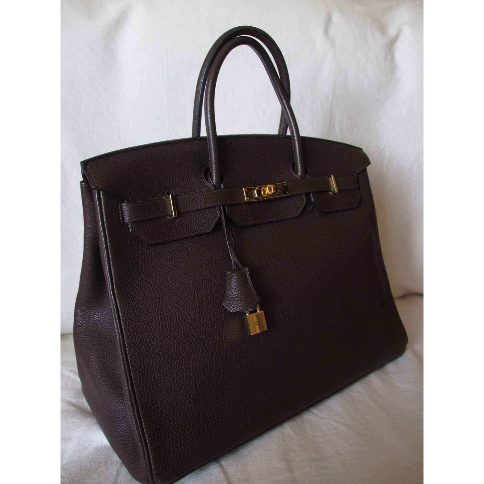 819538a752a ... hot hermès birkin 40 veau togo handbags leather dark brown ref.39542  joli closet b61d6