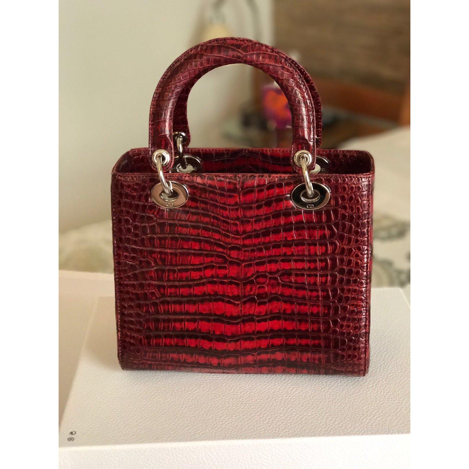 8623ed09de65 Christian Dior Lady Dior Red Crocodile Medium Handbags Exotic ...