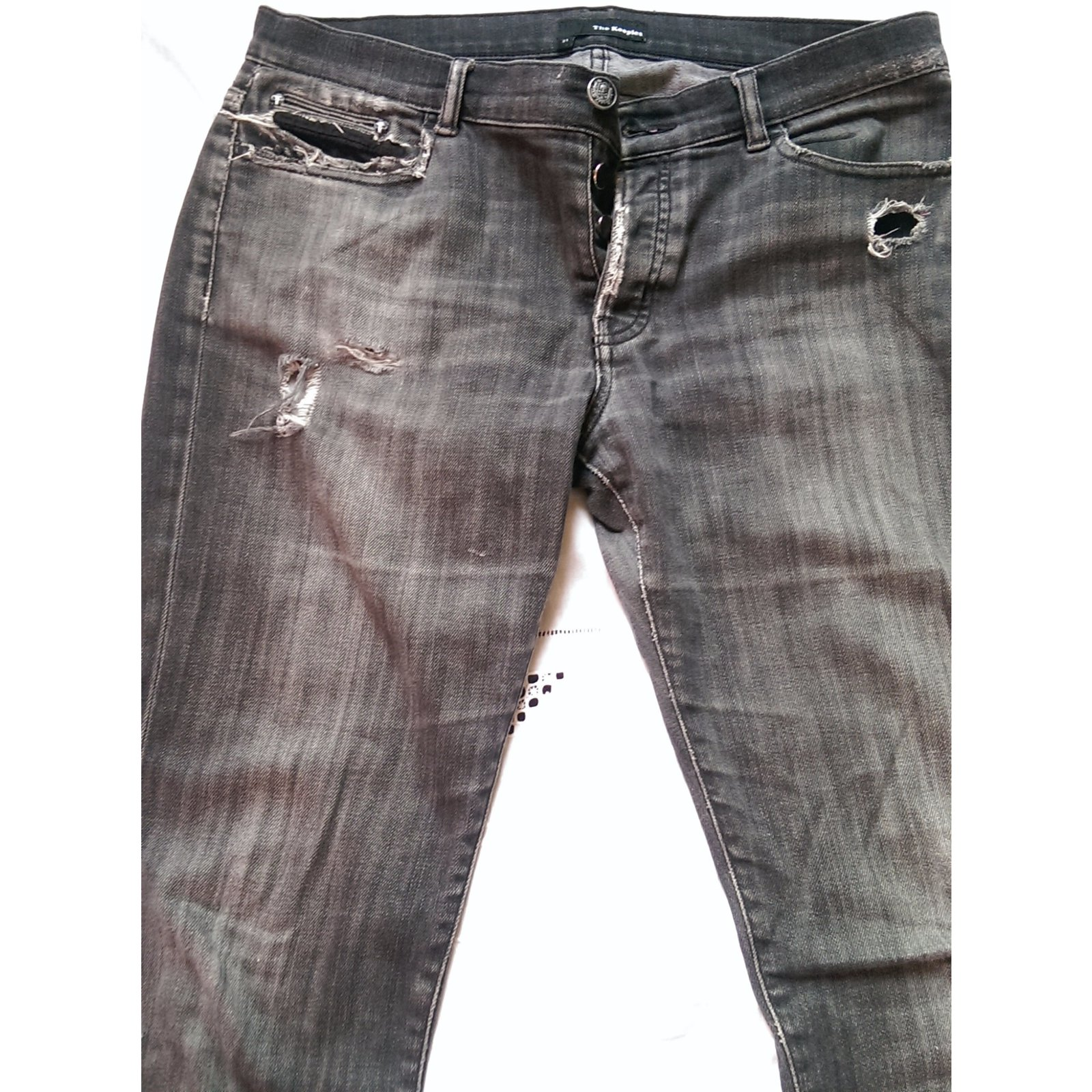 jeans homme the kooples hp216fit coton elasthane gris joli closet. Black Bedroom Furniture Sets. Home Design Ideas