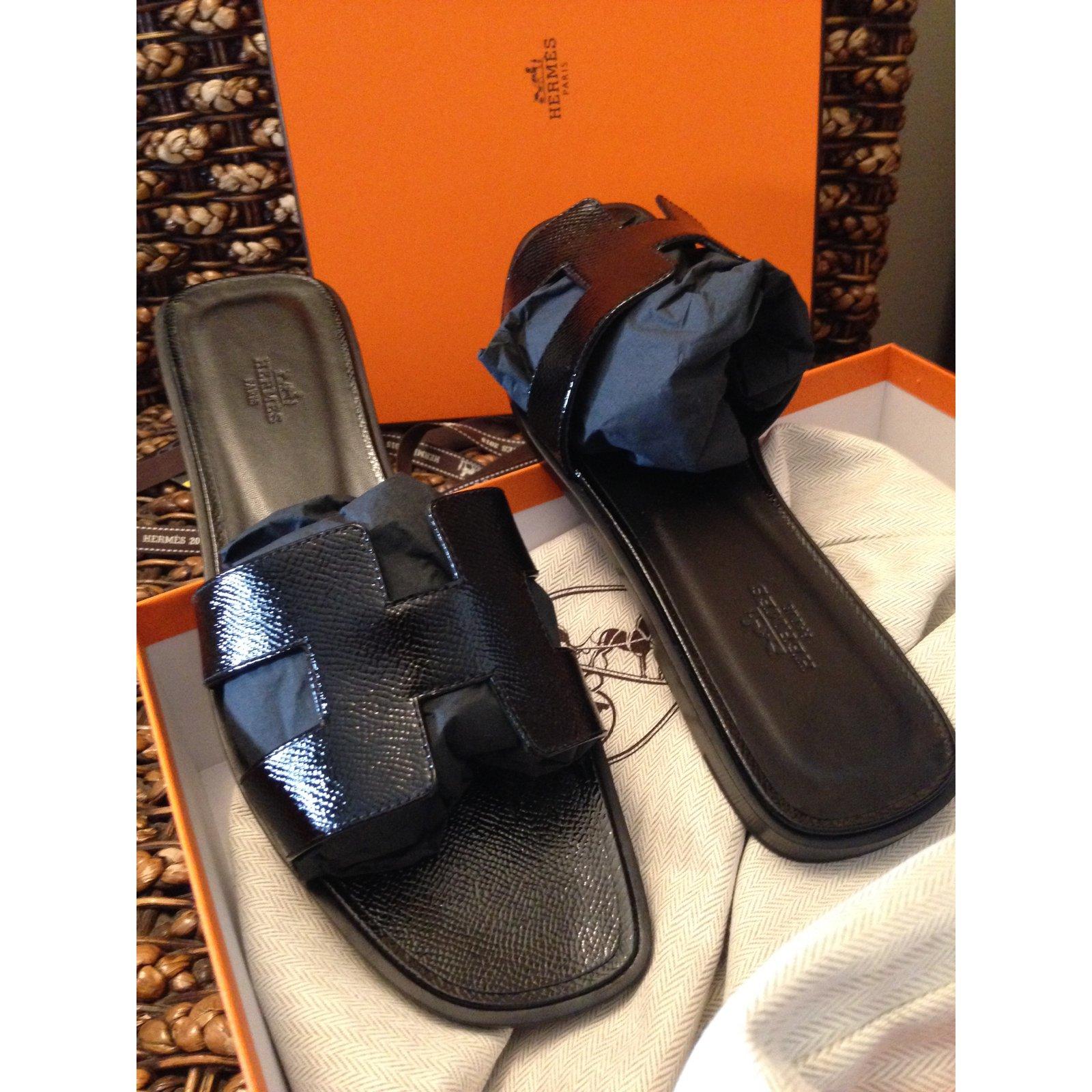 Ref Joli Noir 40652 Sandales Vernis Closet Oran Cuir Hermès Hermes eWE9YIHD2