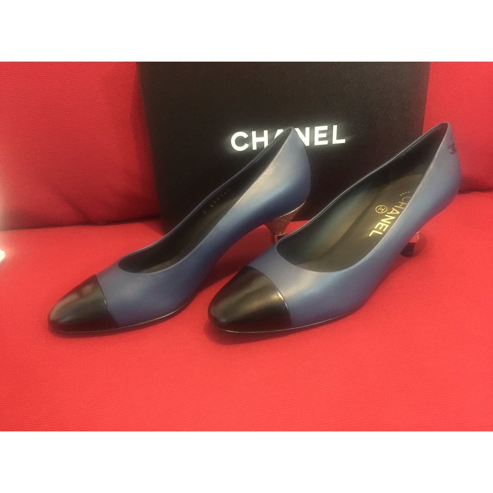 7c3a4a33a963 Facebook · Pin This. Chanel Heels Flats Leather Blue ref.41184