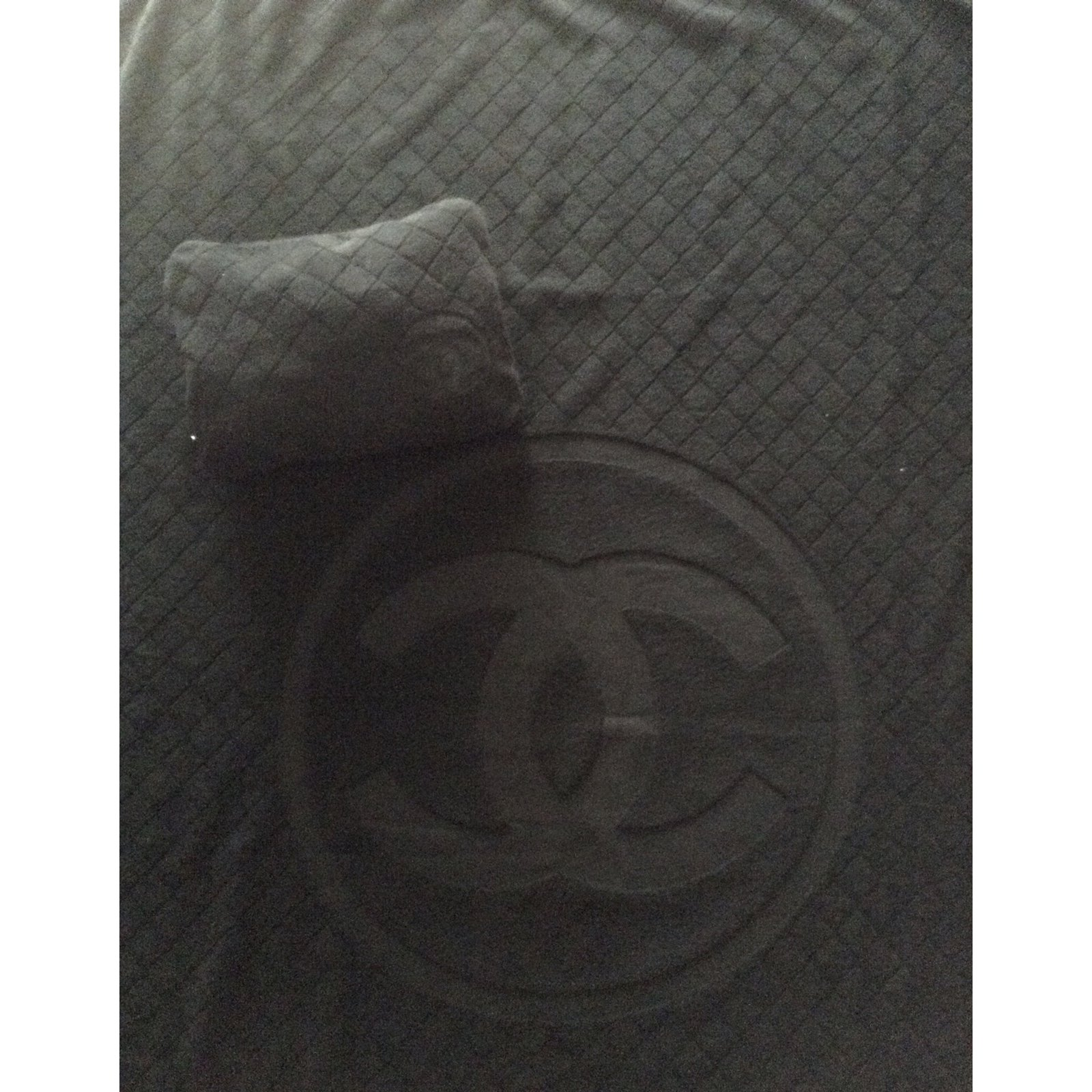 V tements de bain chanel drap de bain coton noir for Drap housse traduction