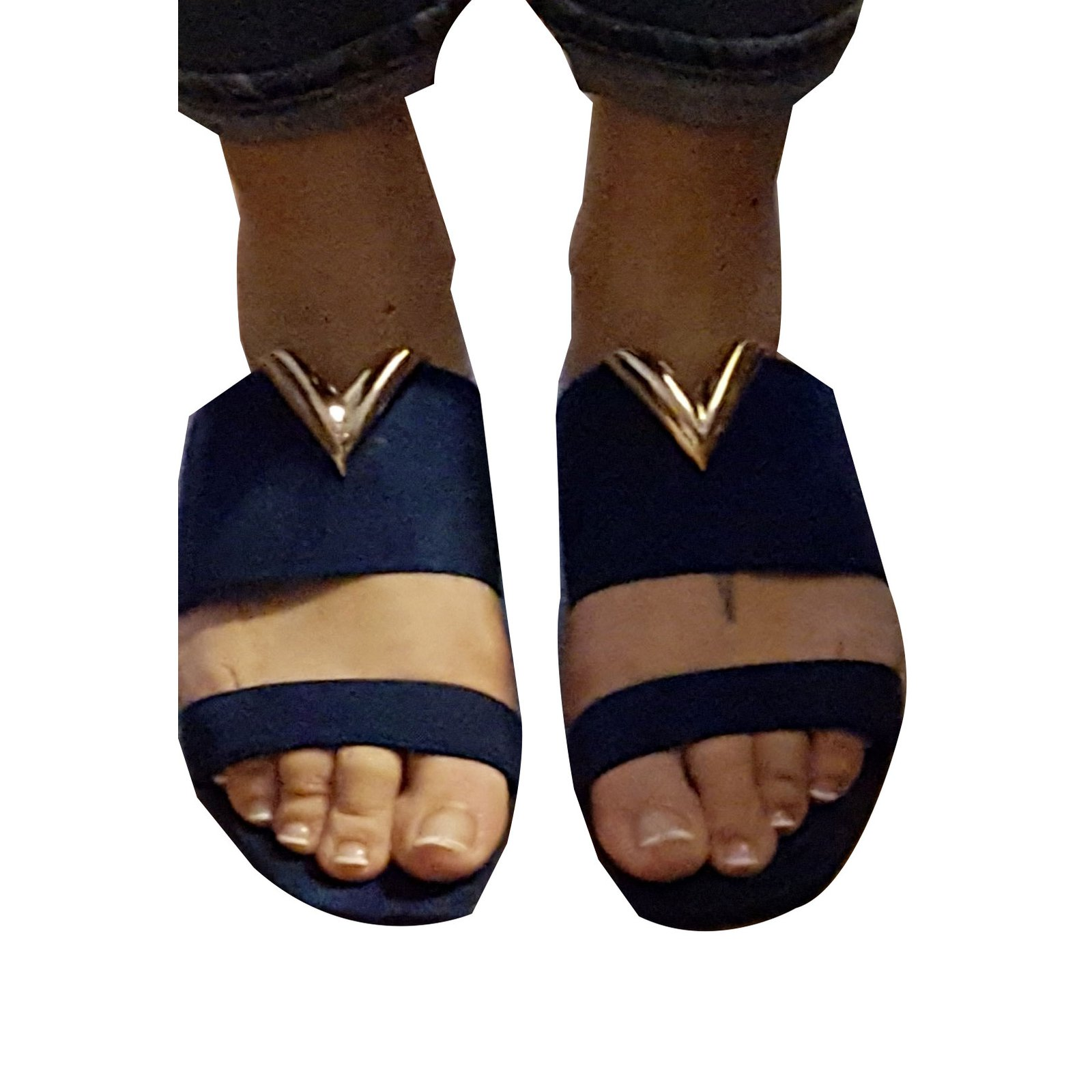 10c77233db98 Facebook · Pin This. Louis Vuitton Sandals Sandals Deerskin Navy blue ...
