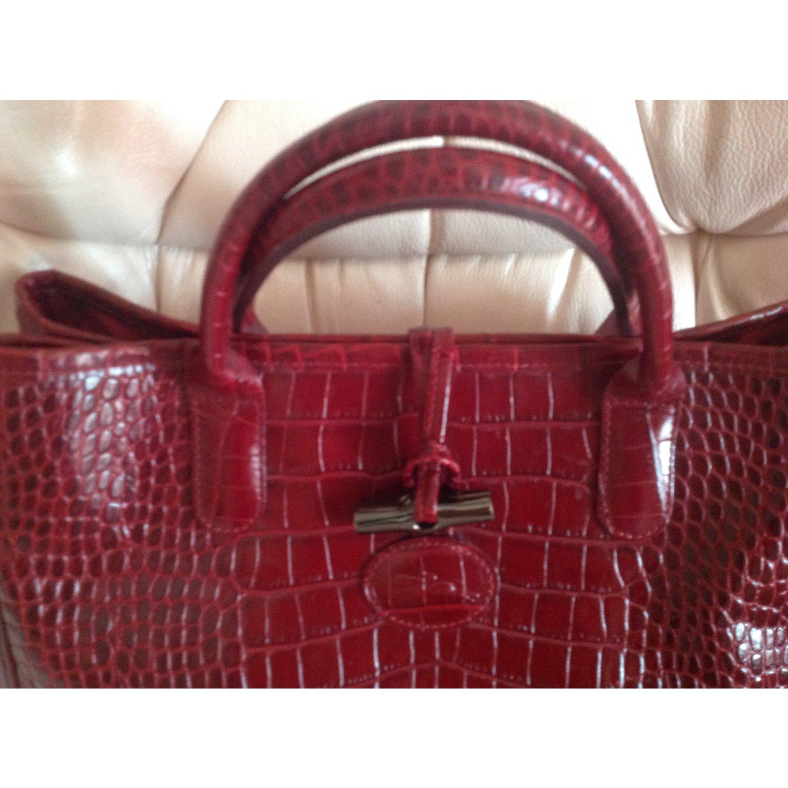 8810f28c94 Longchamp Roseau bag Handbags Leather Dark red ref.42722 - Joli Closet