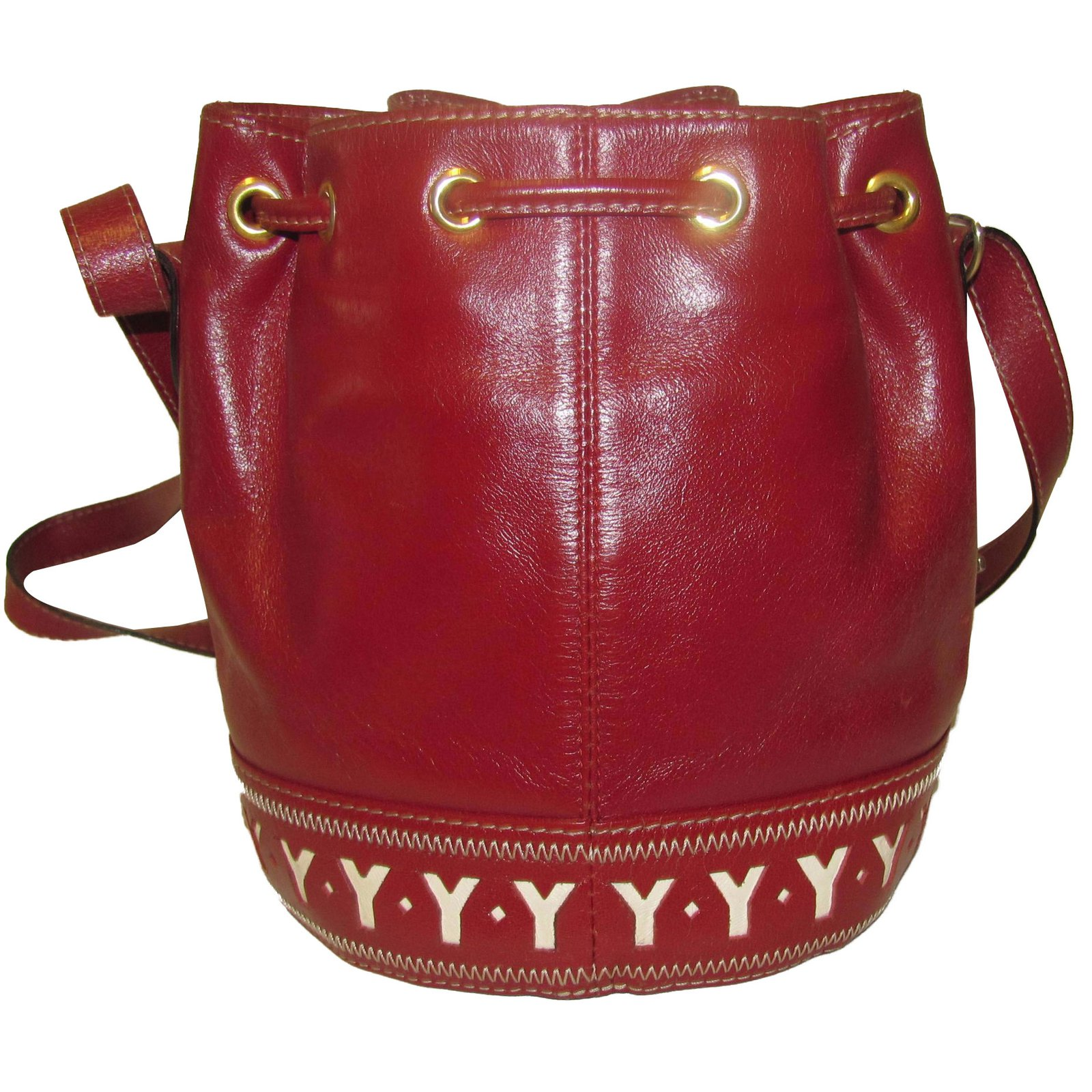 5a341334e7cf Yves Saint Laurent bucket bag Handbags Leather Red