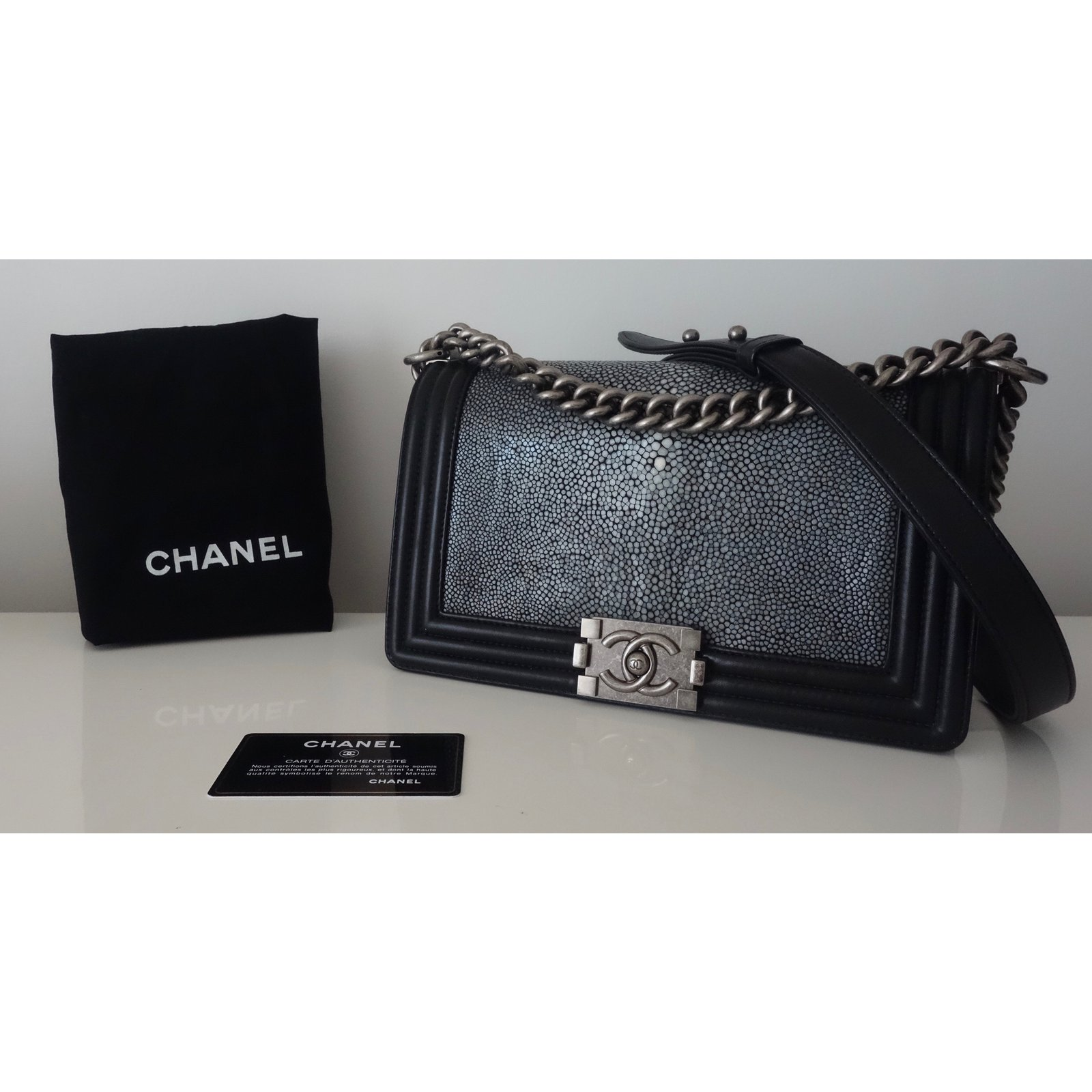 17ac7d7cee1f97 Facebook · Pin This. Chanel BOY GALUCHAT Handbags Exotic leather ...