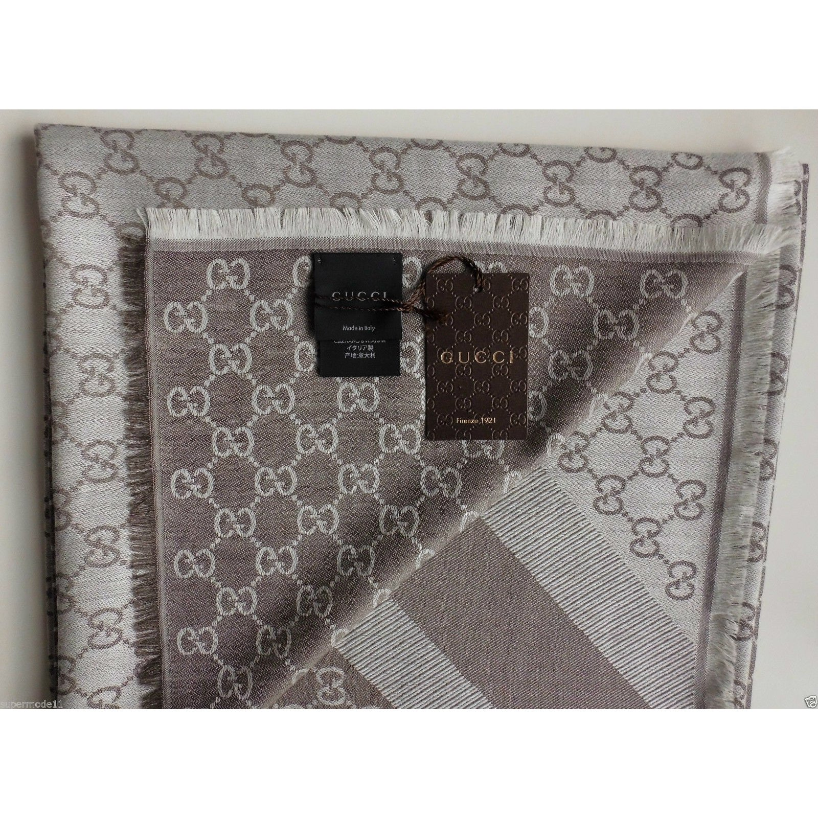 Gucci Gg Web 1578 New 140 X Scarves SilkWool Multiple Colors Ref43575