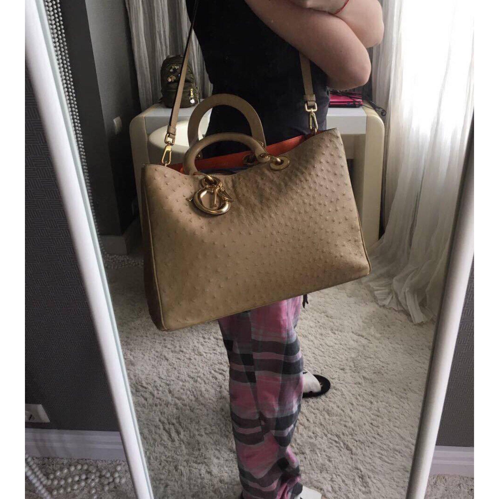 ffd4fdf2a029 Christian Dior lady dior ostrich large Handbags Exotic leather Orange  ref.44406 - Joli Closet