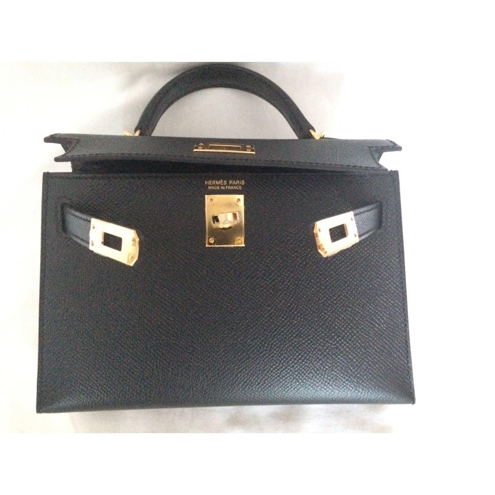 88e3a1bff7 Sacs à main Hermès Kelly II Mini Cuir Noir ref.44789 - Joli Closet