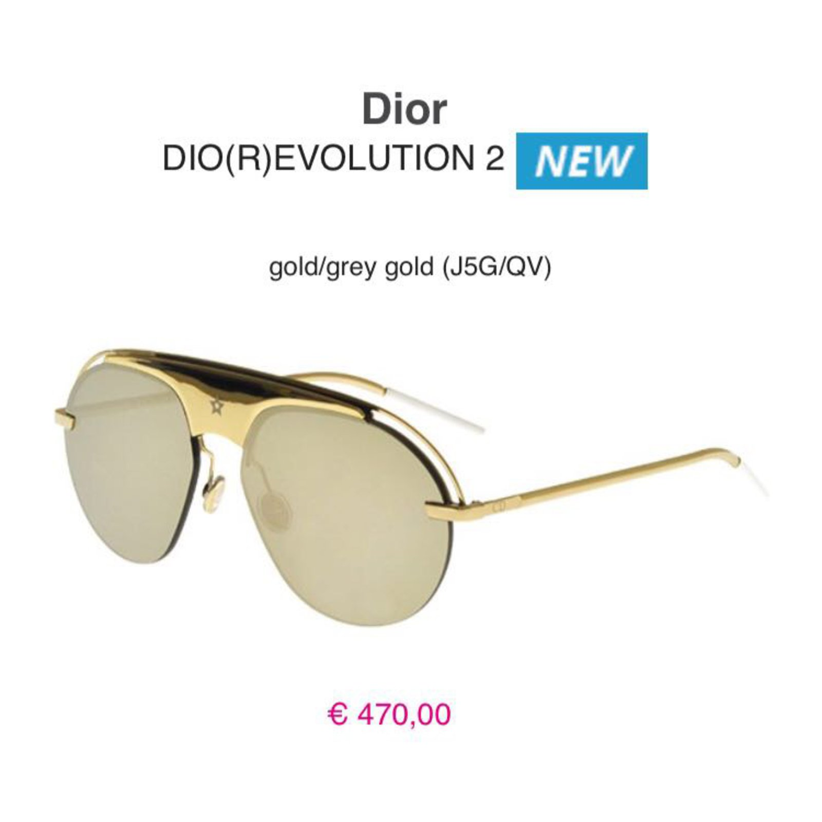 9384386ddd1 Facebook · Pin This. Christian Dior Dior revolution 2 Sunglasses Metal  Golden ref.45574