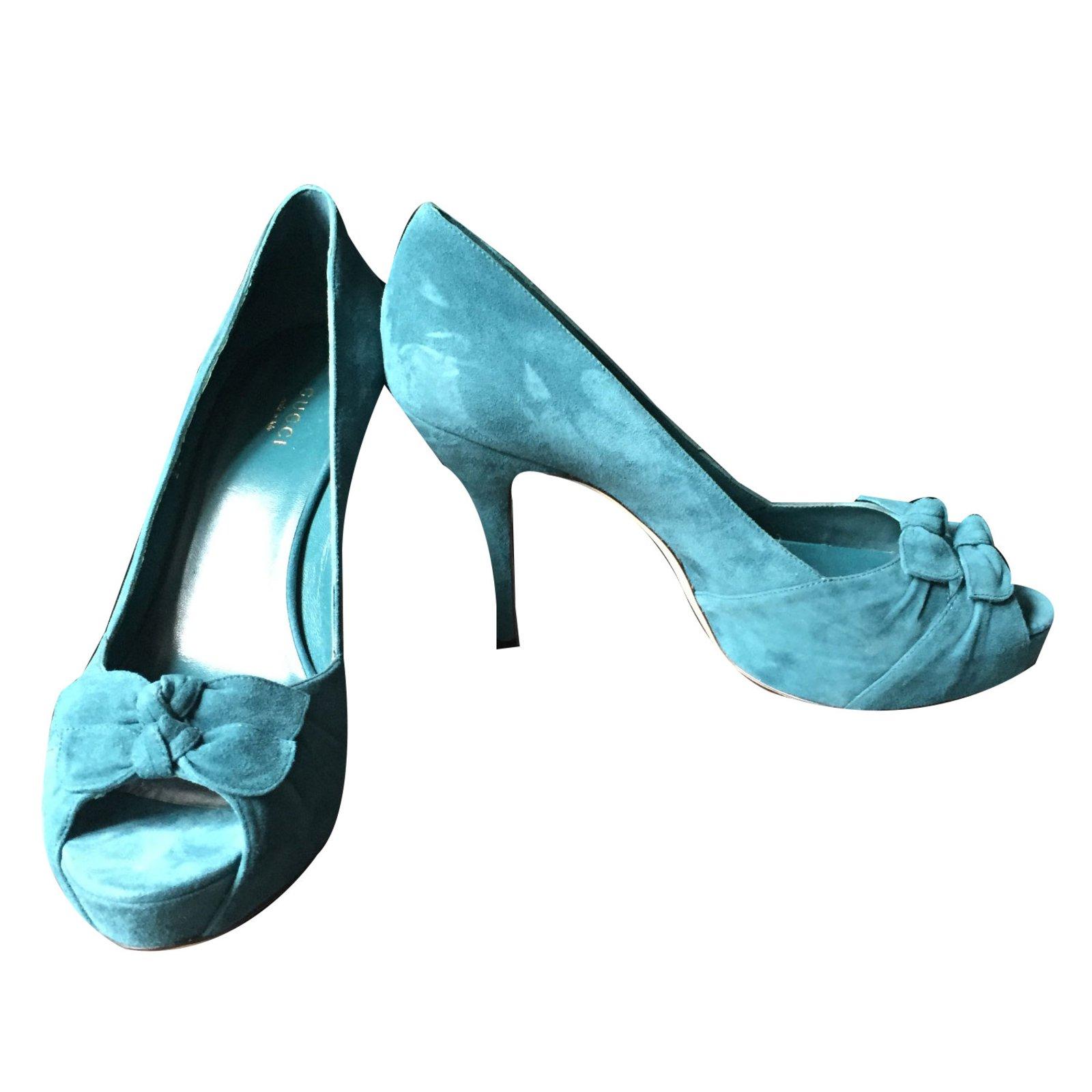 c189076d900 Gucci Pumps Heels Suede Blue ref.45666 - Joli Closet