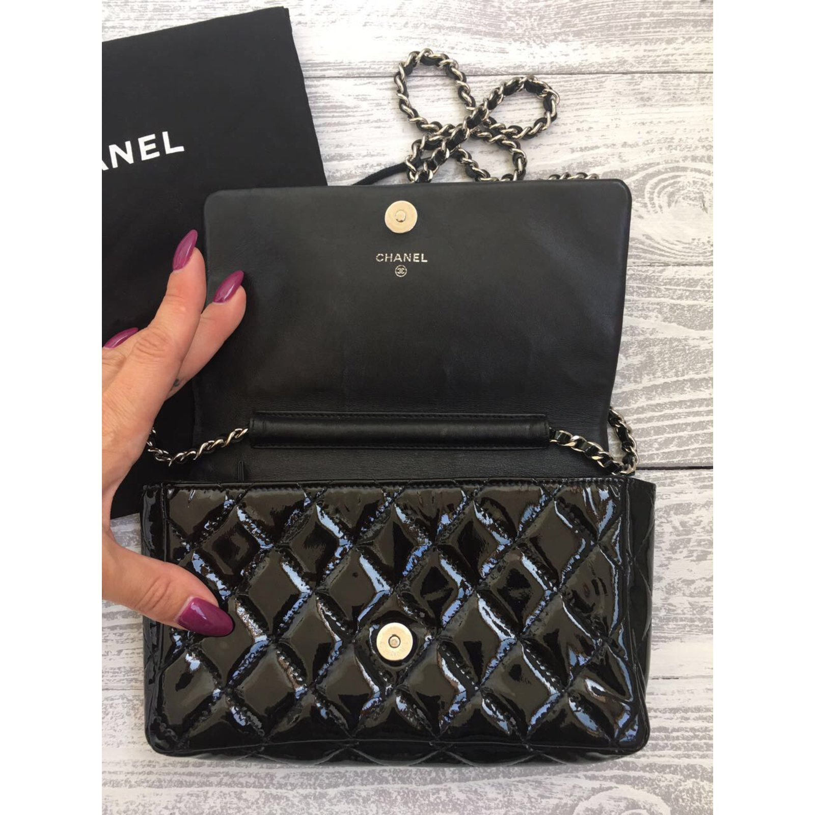 277800ba7321ee Chanel Black Quilted Patent Leather Brilliant WOC Clutch Bag Handbags Patent  leather Black ref.46062 - Joli Closet