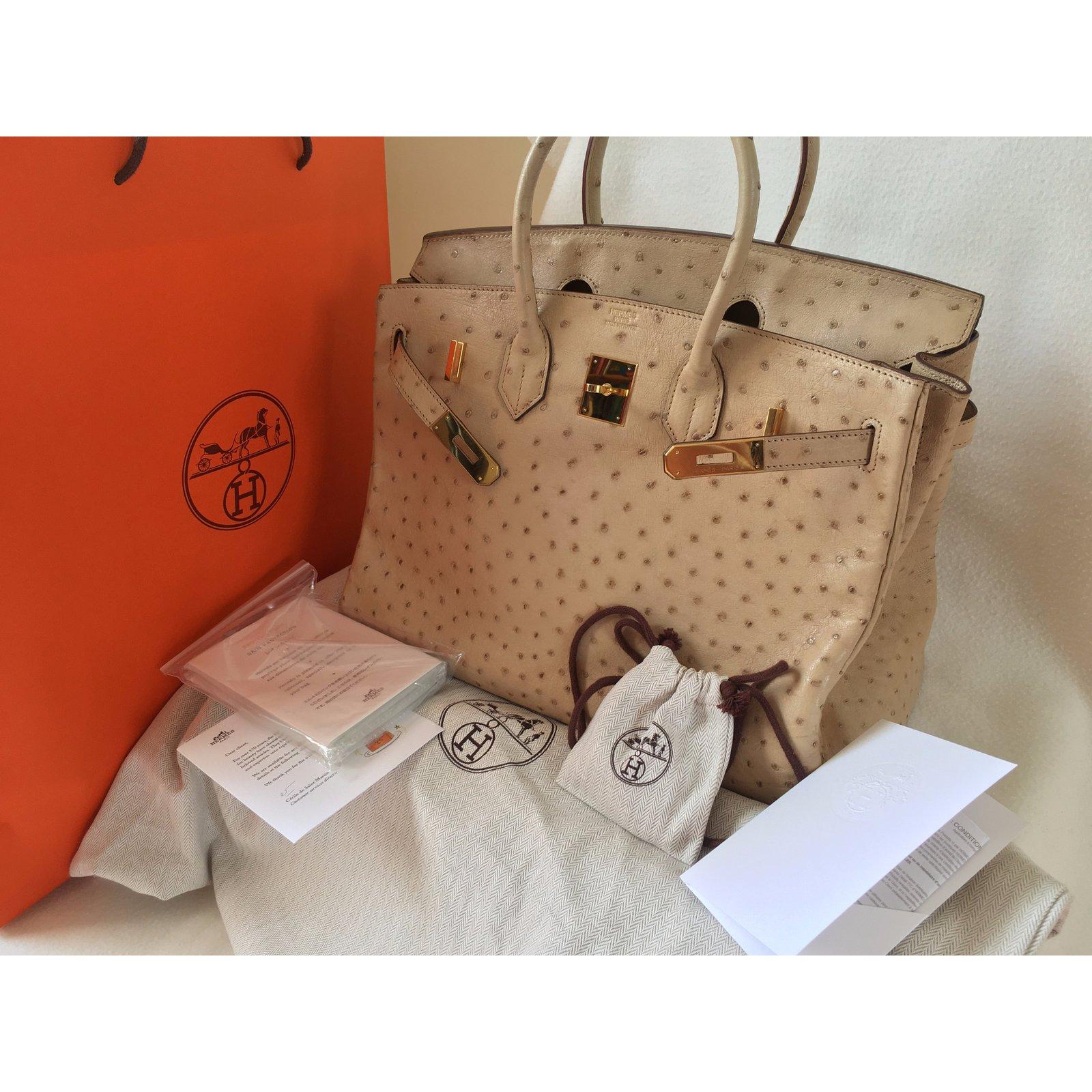 aaf5d341da07 Facebook · Pin This. Hermès Birkin 35 Ostrich Parchemin Gold hardware ...