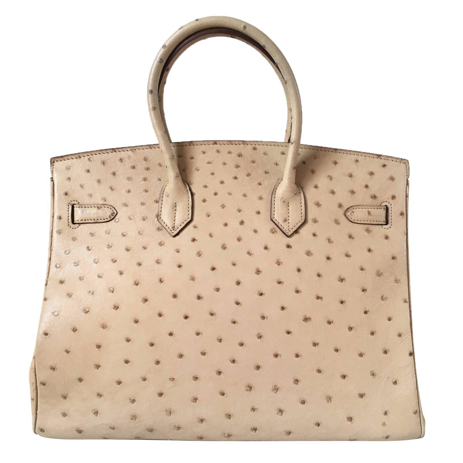 25a0beee8da Hermès Birkin 35 Ostrich Parchemin Gold hardware Handbags Exotic ...