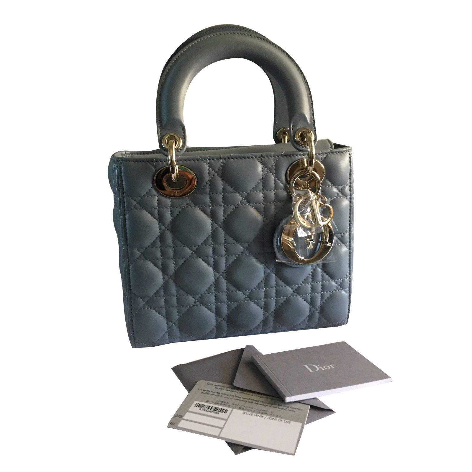 Christian Dior lady dior cloud blue Handbags Patent leather Blue ref.46735  - Joli Closet cfff99046e