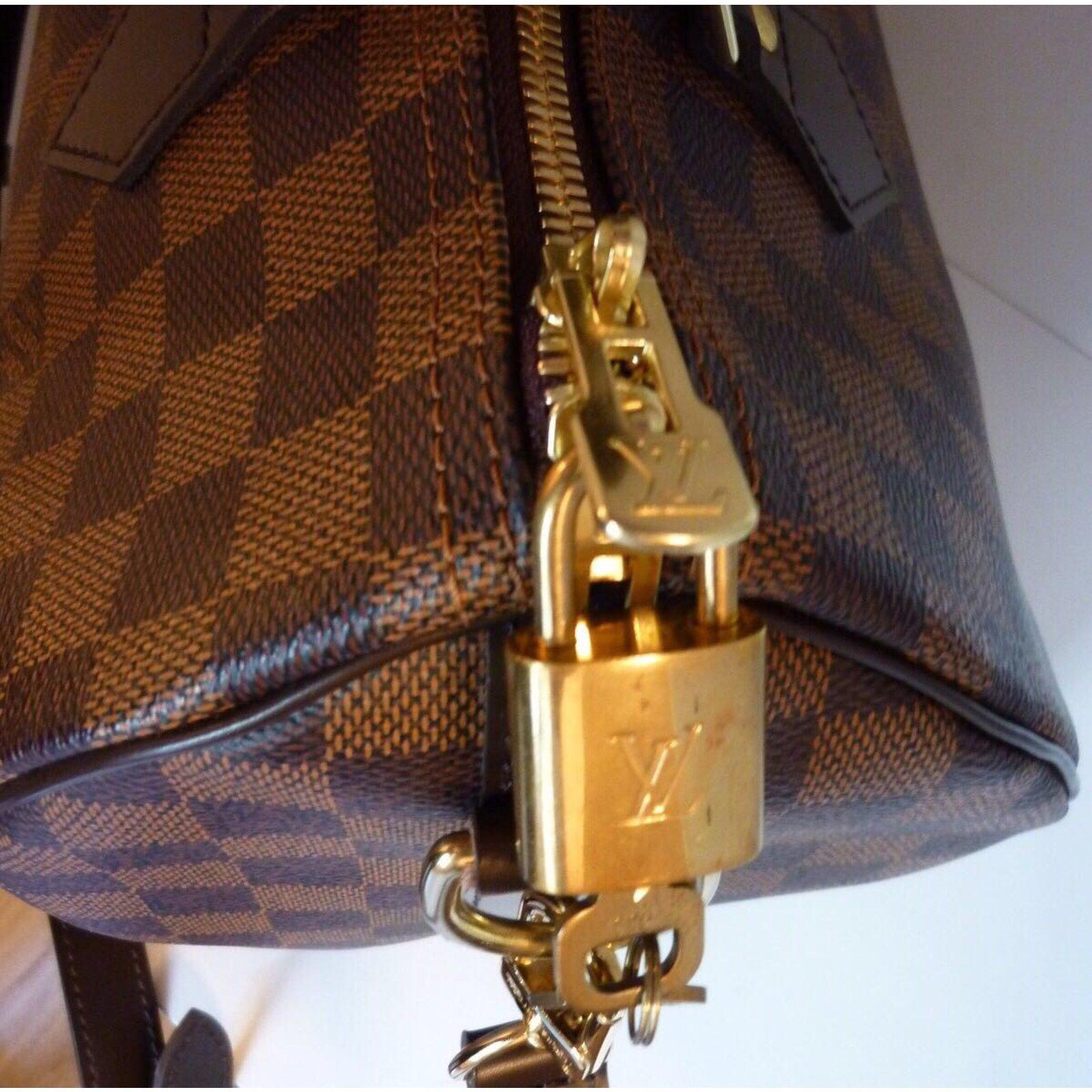 4a38d112a3 Sacs à main Louis Vuitton Superbe Sac Louis Vuitton Speedy 30 à bandoulière  à damier ébène ! Cuir,Toile Marron ref.46768 - Joli Closet