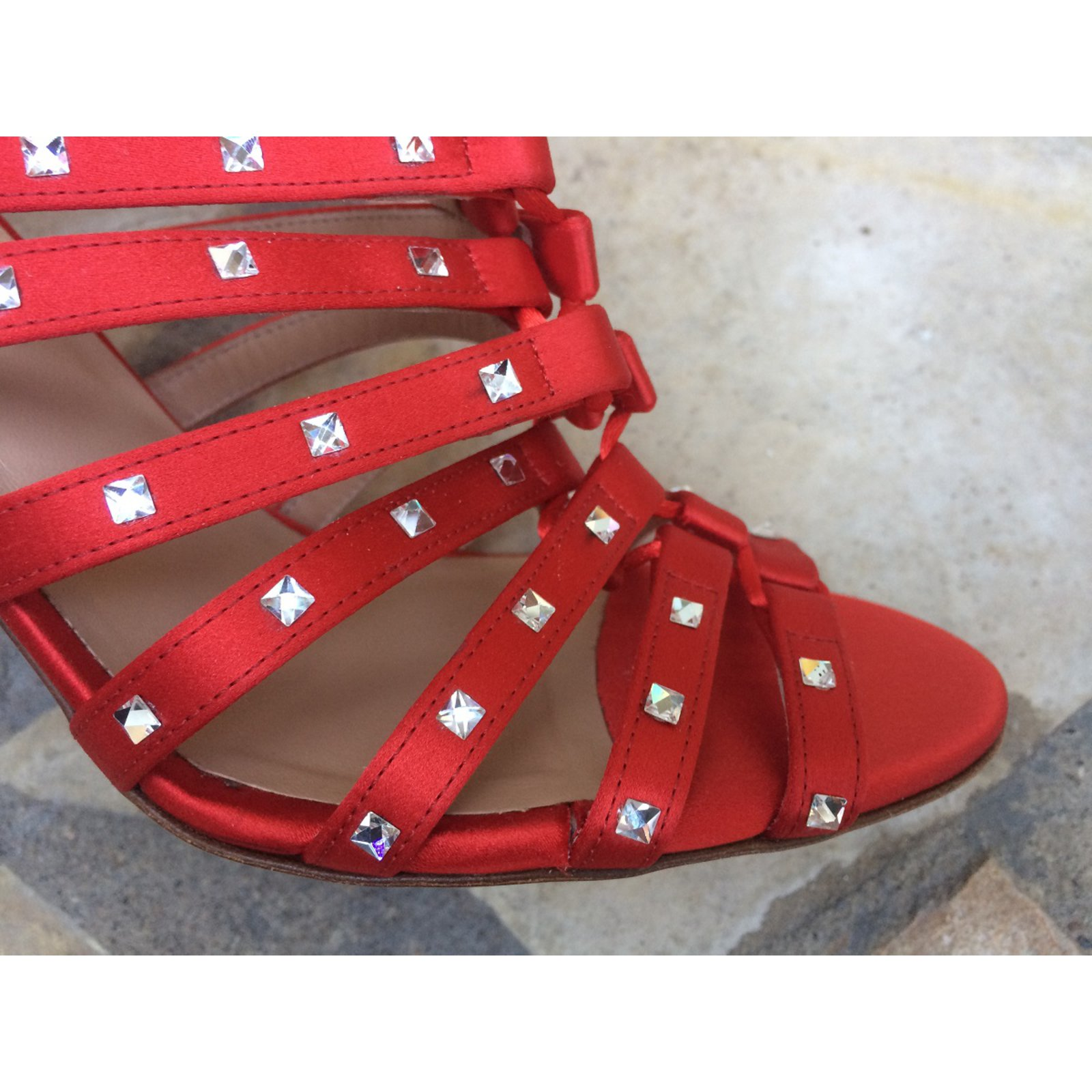 99f5c2fb0e2e Valentino Sandals Sandals Satin Red ref.46864 - Joli Closet