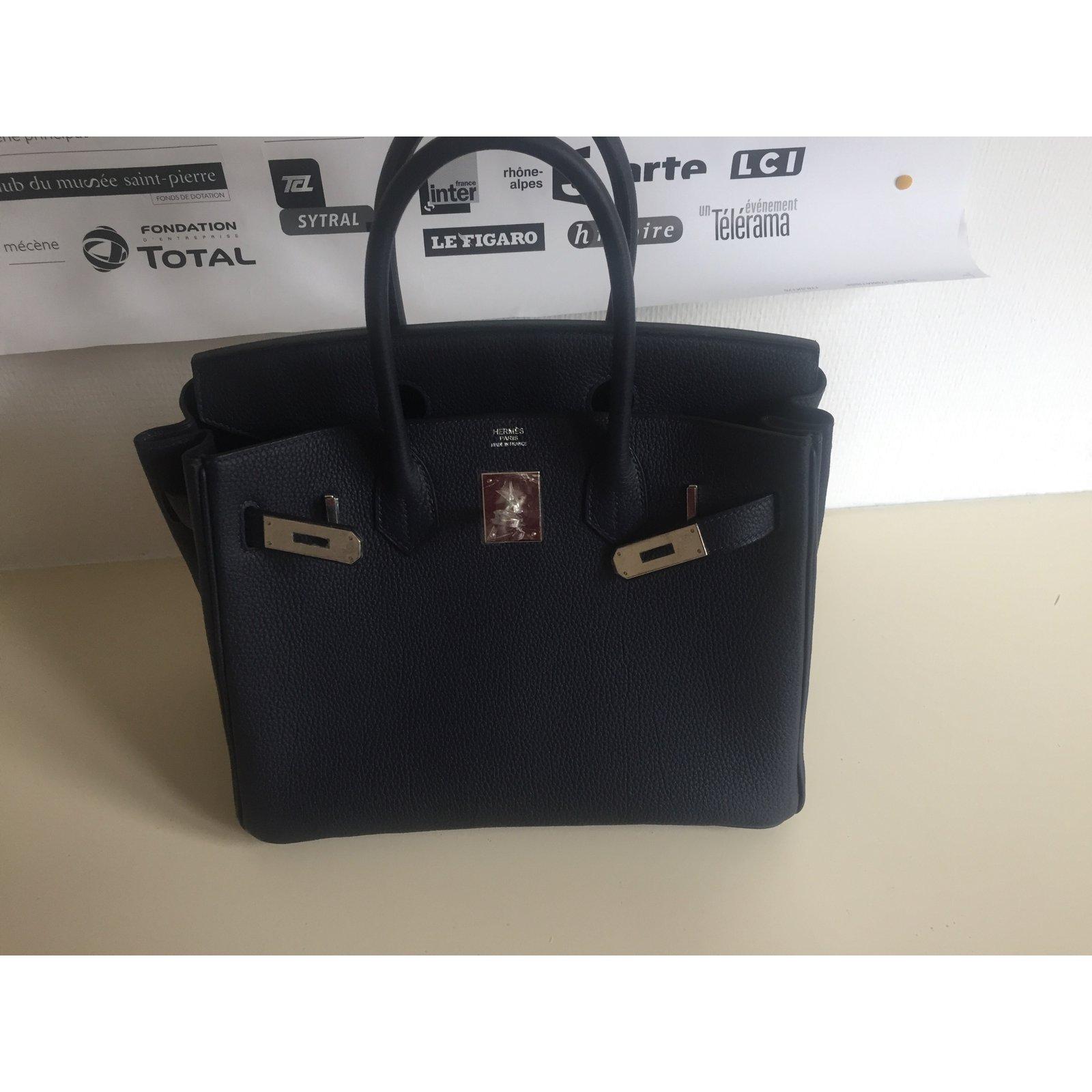 ebc8dd4c2aa ... coupon code for hermès birkin 30 handbags leather navy blue ref.47483 joli  closet a41b5