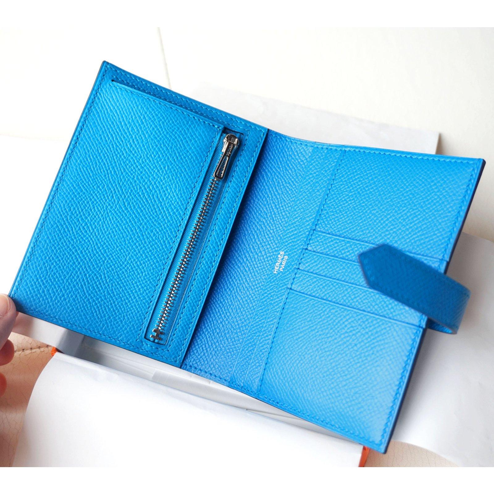 40400a5d2d70 Hermès Béarn compact wallet Wallets Leather Blue ref.47513 - Joli Closet