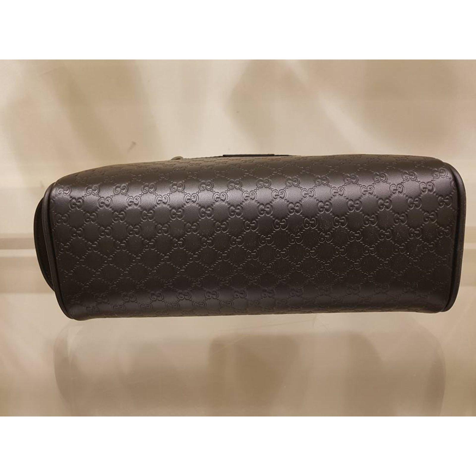 59ab7a97f19b88 Gucci New Gucci Men s 419775 BLACK Leather Micro GG Guccissima Large  Toiletry Dopp Bag Wallets Small accessories Leather Black ref.48039 - Joli  Closet