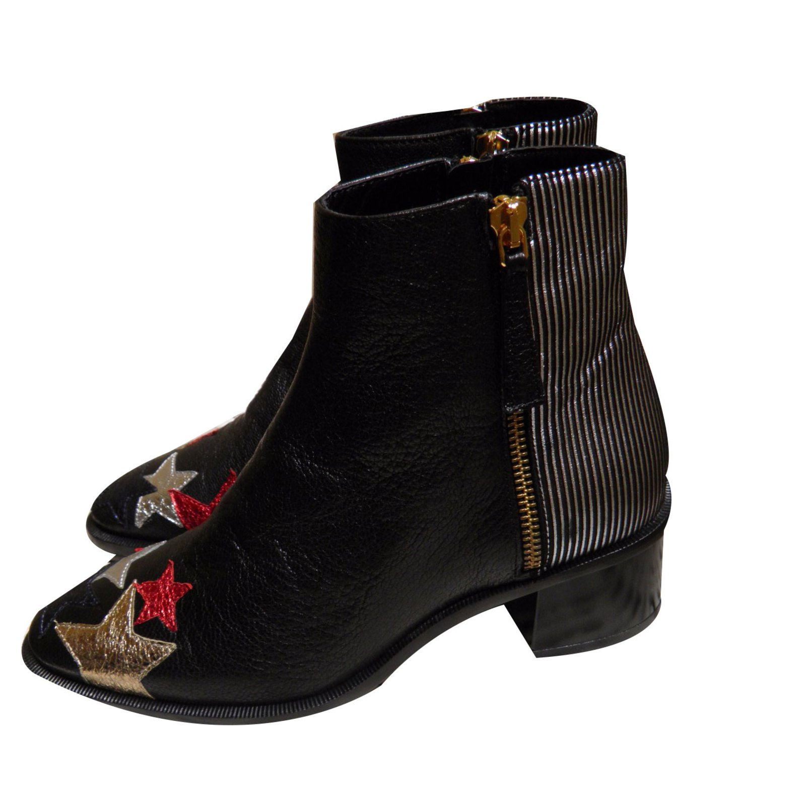 fd6b8bf62308d ... Tommy Hilfiger rock n roll stars patches Ankle Boots Leather Multiple  colors ref.48173 ...