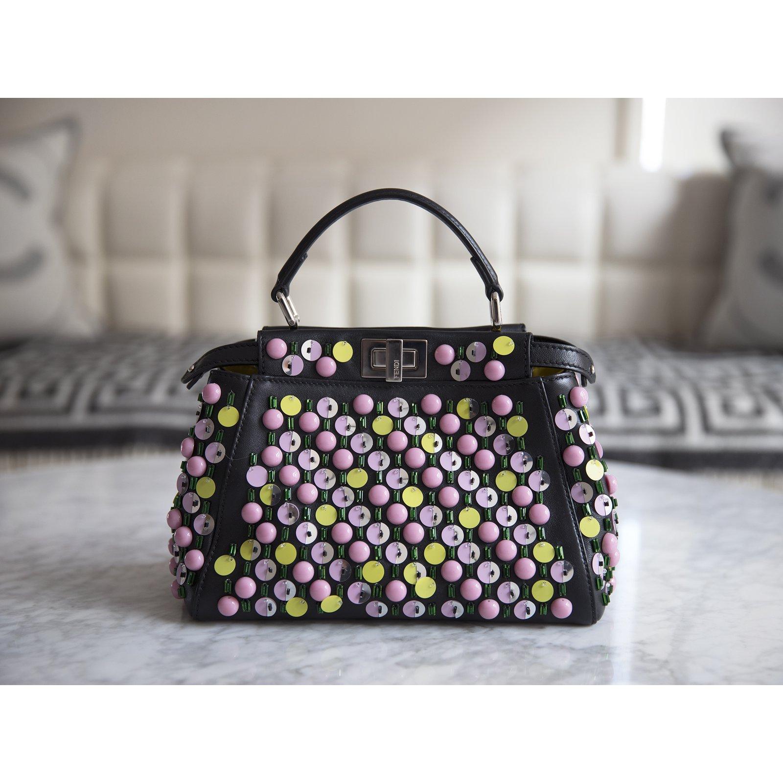 Fendi Mini Peekaboo Bag Embellished Embroidered Apple Satchel Handbags  Leather Black 5b799797aba1e