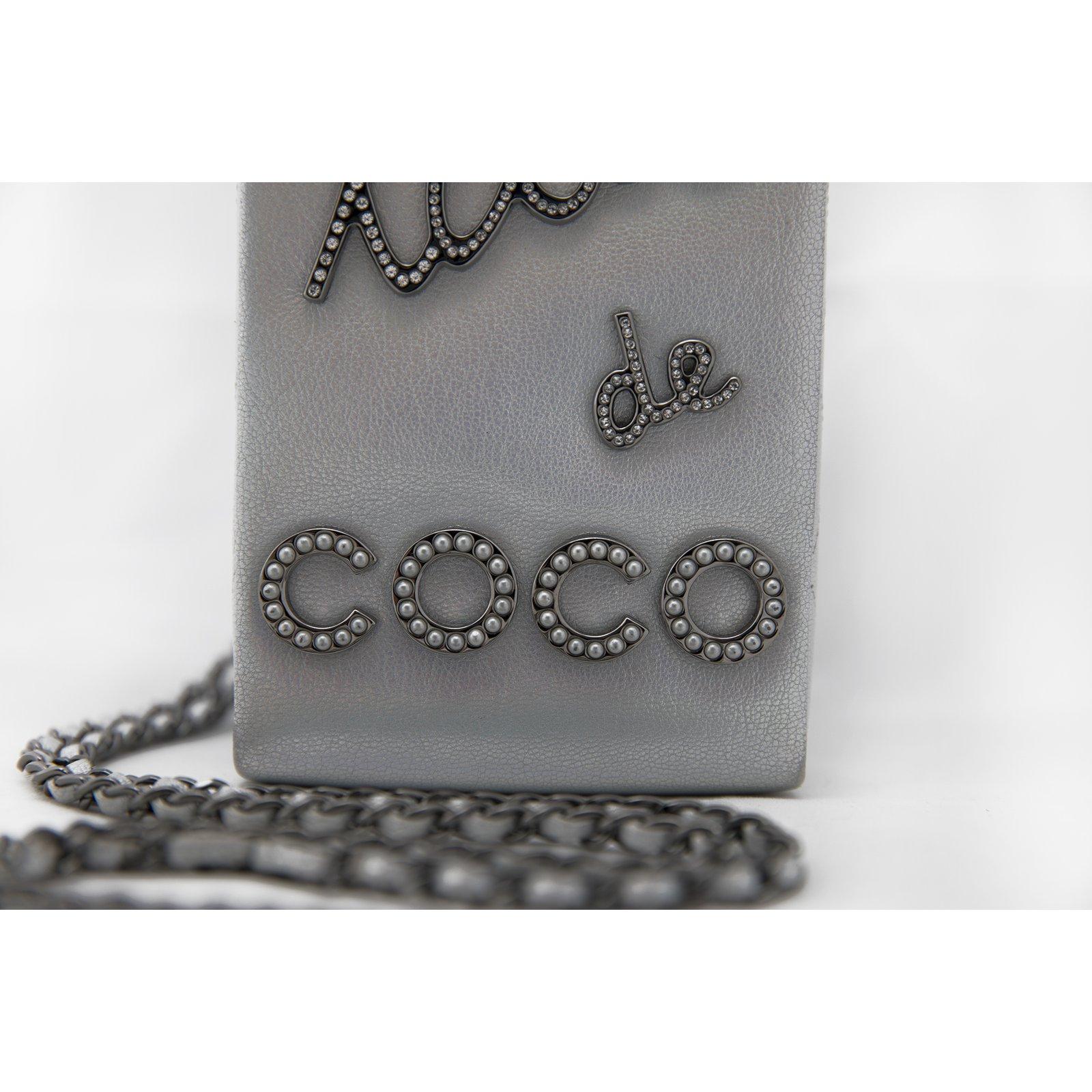 35a294810a6b Chanel Lait de Coco Bag 14A Fall 2014 Supermarket Collection Handbags  Leather,Goatskin Silvery ref.49652 - Joli Closet