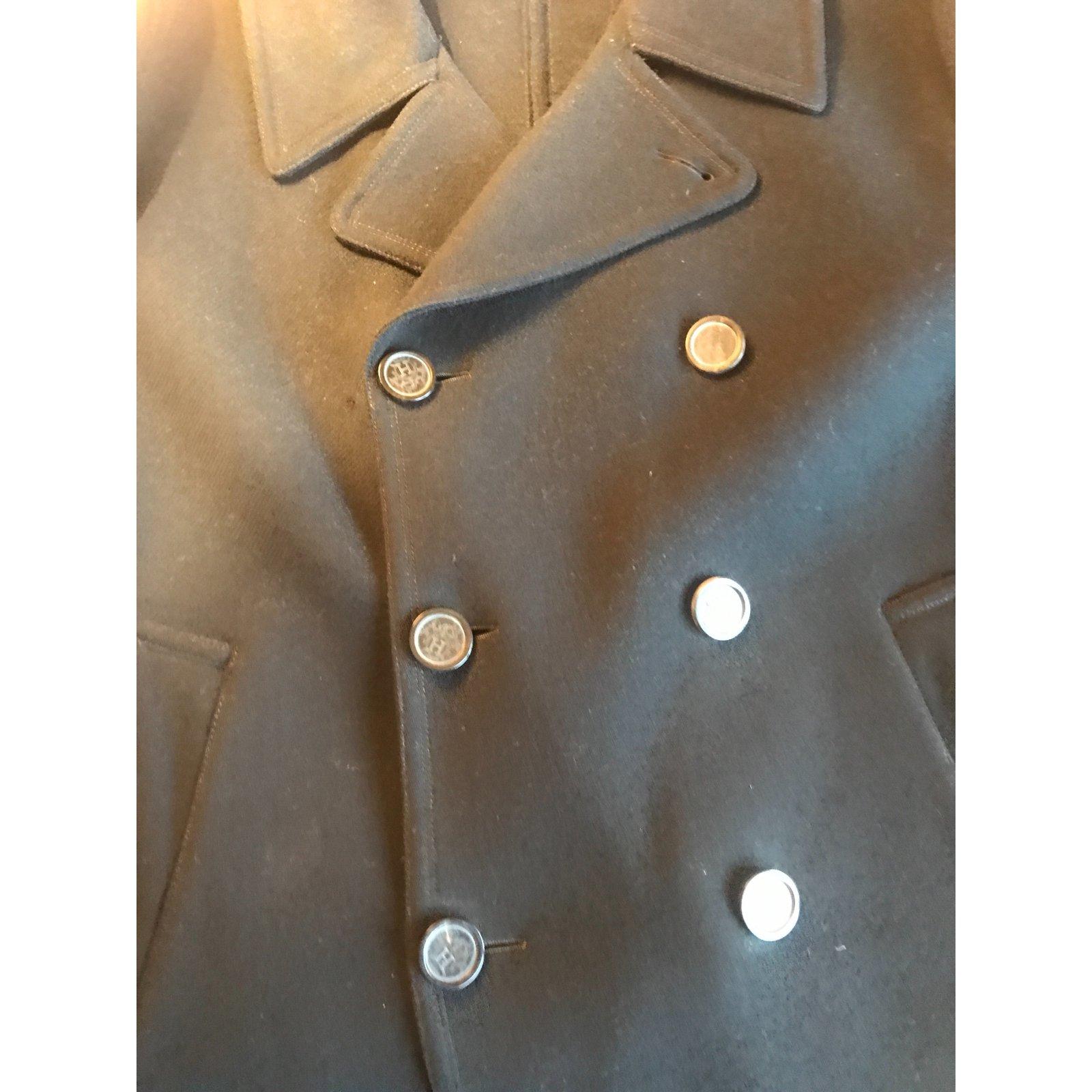 Manteaux homme Hermès Caban Laine Noir ref.49659 Joli Closet