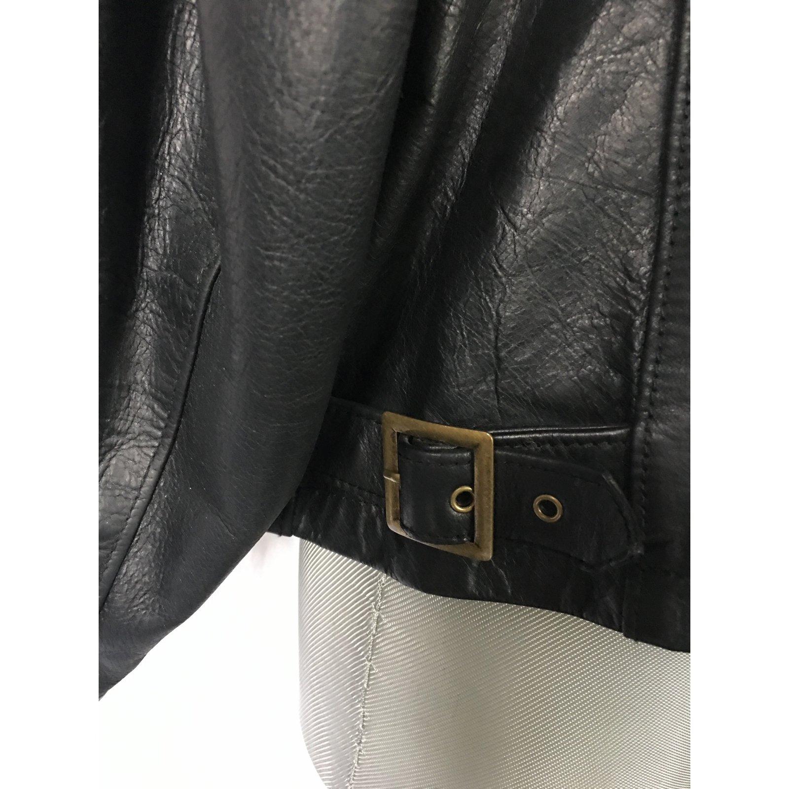 6d589023abde4c Vestes, blousons Polo Ralph Lauren Blouson cuir Polo Jeans Company RL  Cuir,acetate Noir ref.50328 - Joli Closet