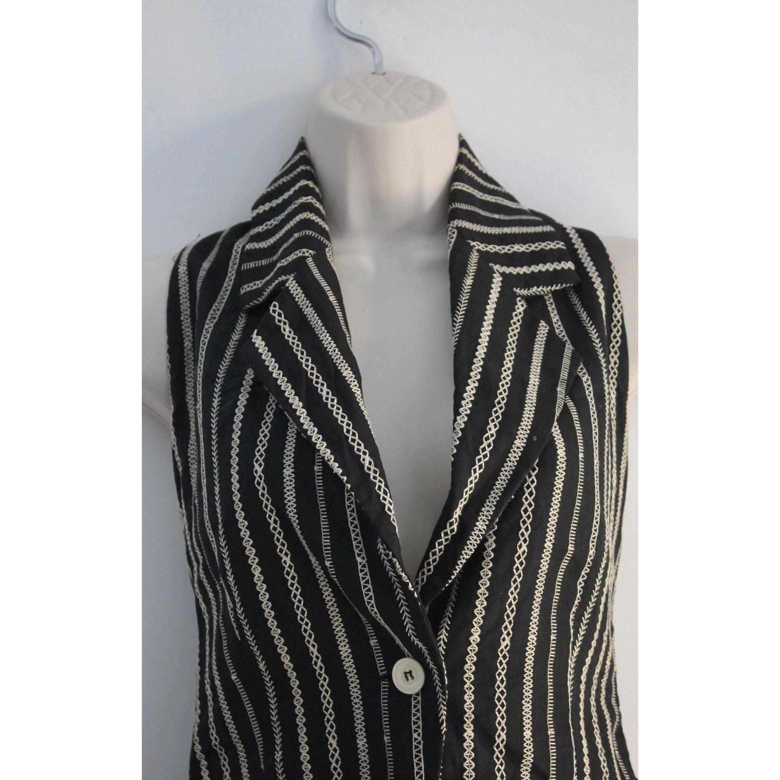 Vestes Joli Byblos Coton Closet blanc 50908 Noir Ref 66rYqgw