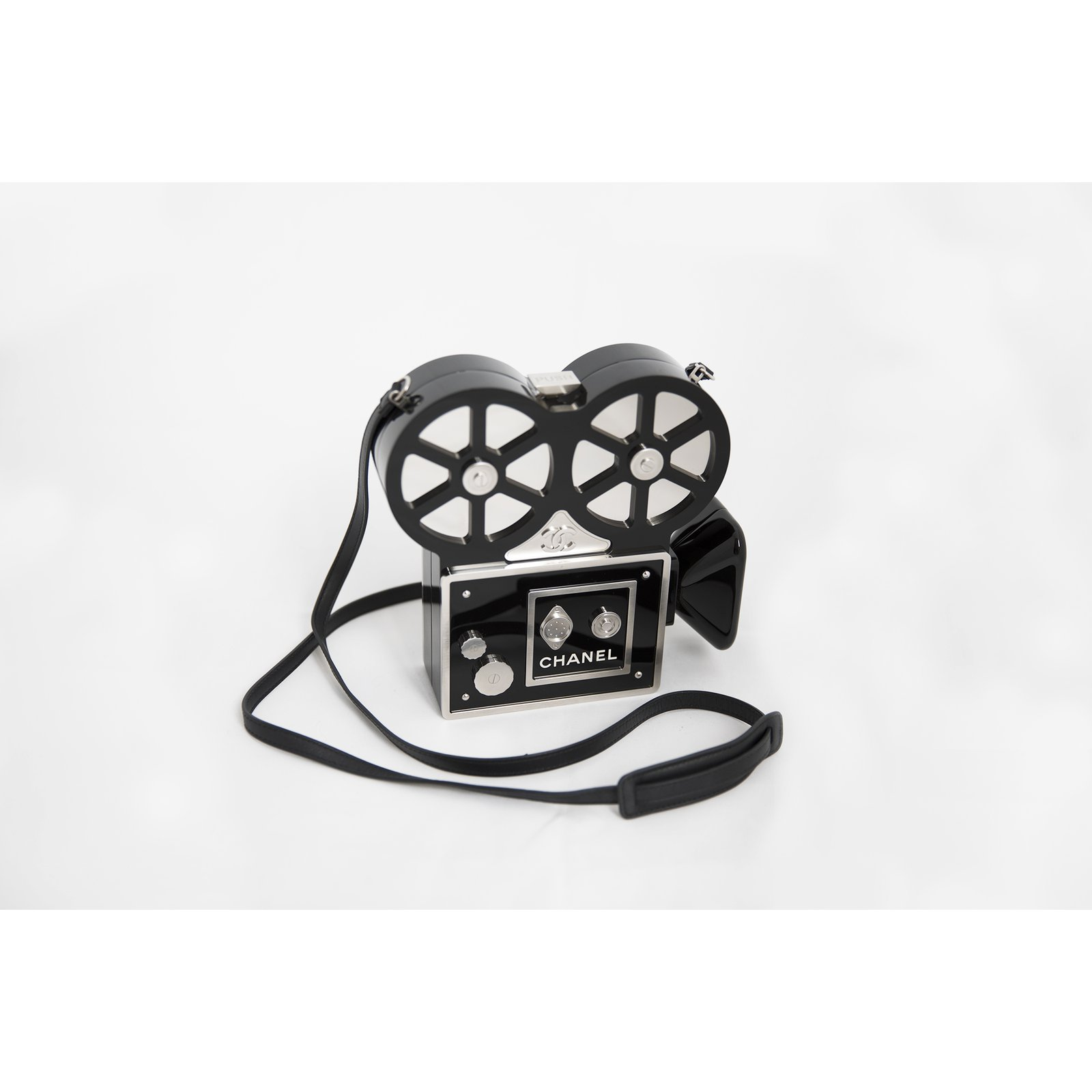 7276ab58c038 Chanel CHANEL 16A Pre-Fall 2016 Rome Collection Film Camera Minaudière  Handbags Leather,Other Black,Silvery ref.51095 - Joli Closet
