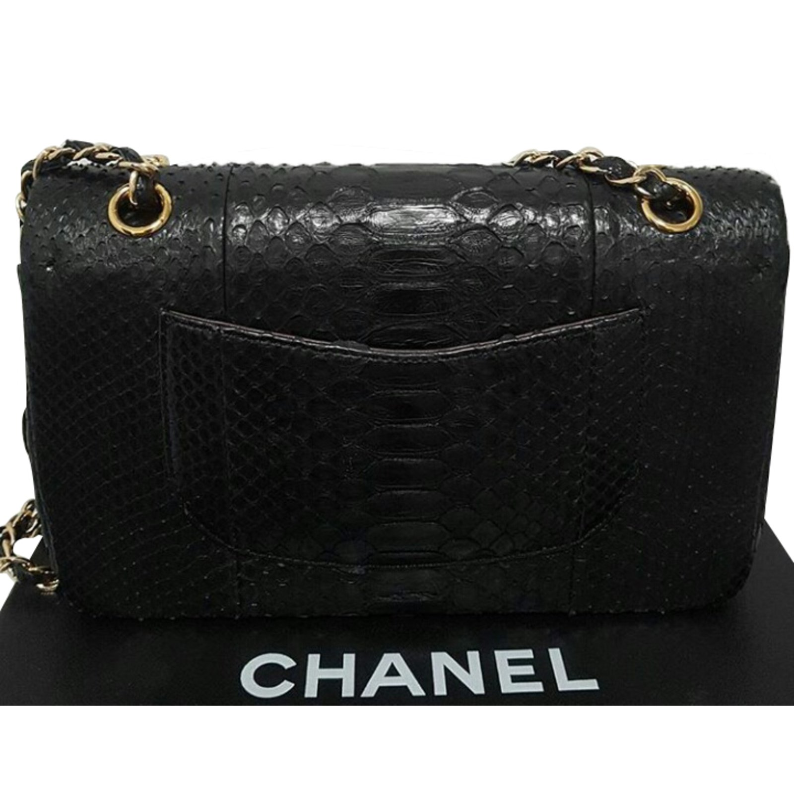 49244b7787 Chanel 2.55 classic Double flap python Handbags Exotic leather Black  ref.51671 - Joli Closet