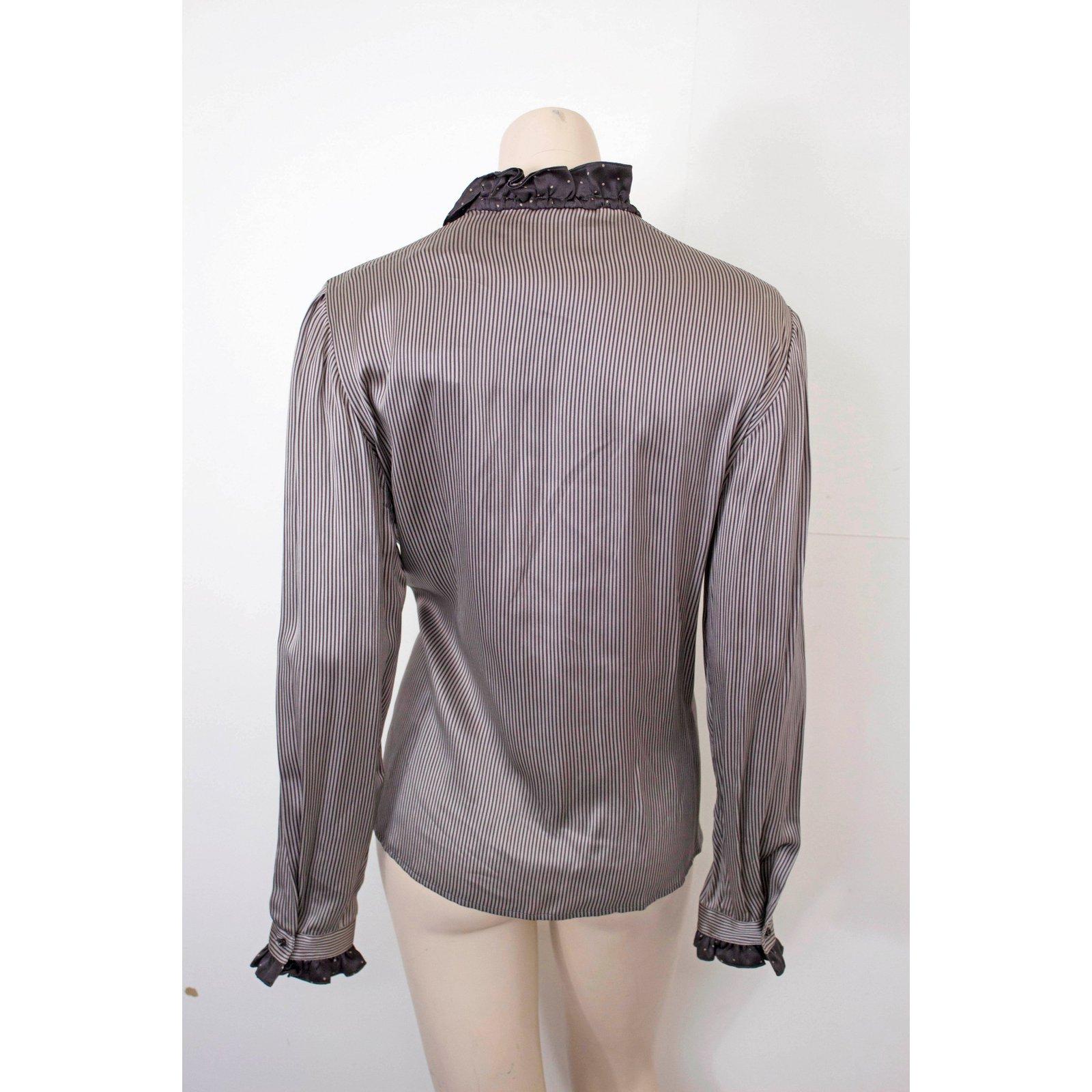 353b39b63380be Christian Dior Tops Tops Silk Grey,Dark grey ref.53027 - Joli Closet