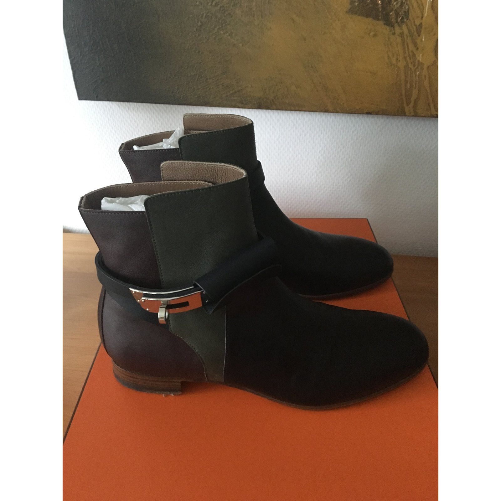 Closet Hermès 53734 ref Autre Joli Bottines Neo Bottines Cuir l1JFKc