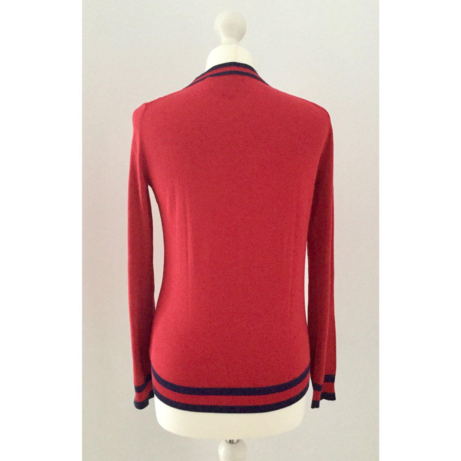 pulls gilets gucci pulls gilets coton rouge joli closet. Black Bedroom Furniture Sets. Home Design Ideas