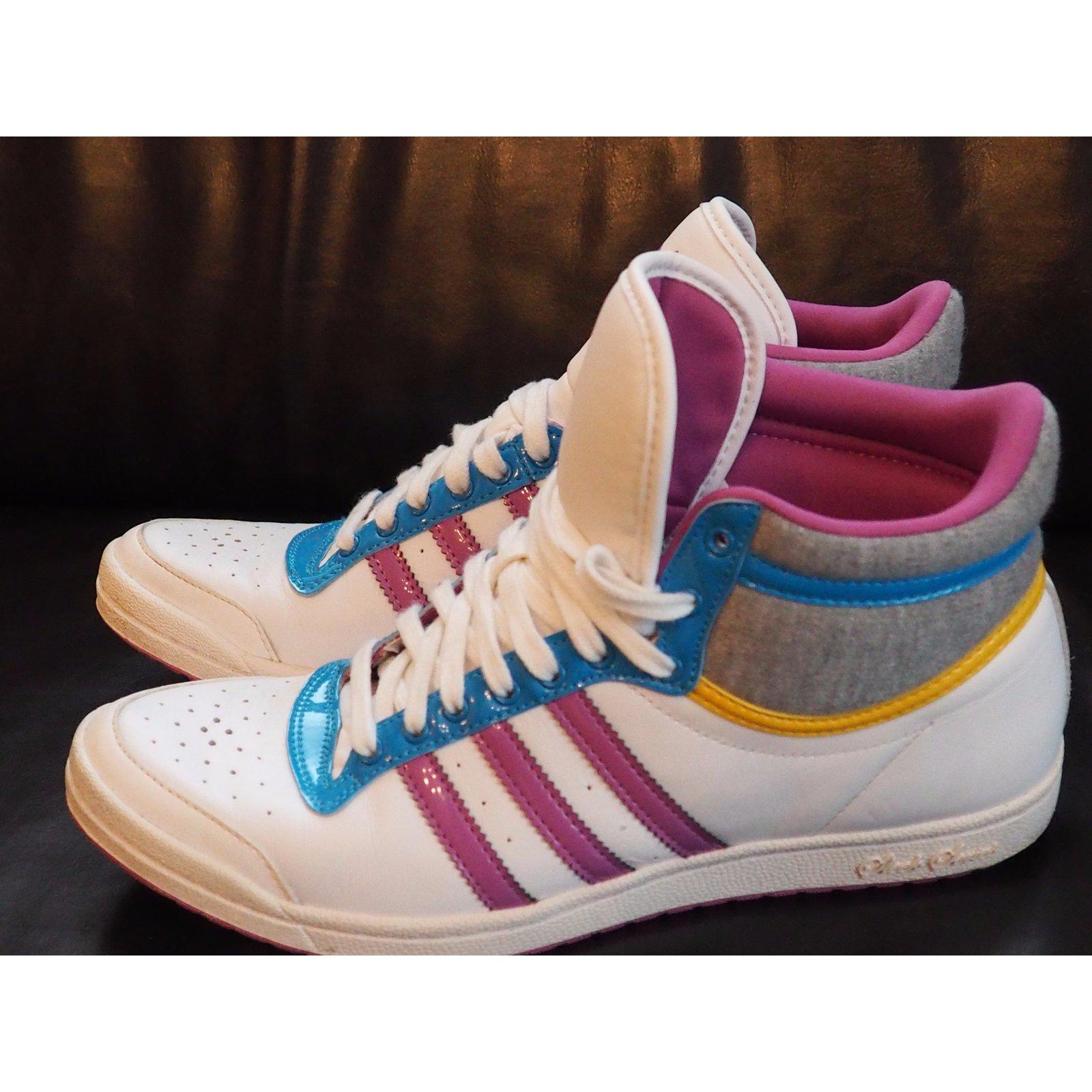 Adidas Sleek Sneakers Leather White Series Sneakers ref thQrsd