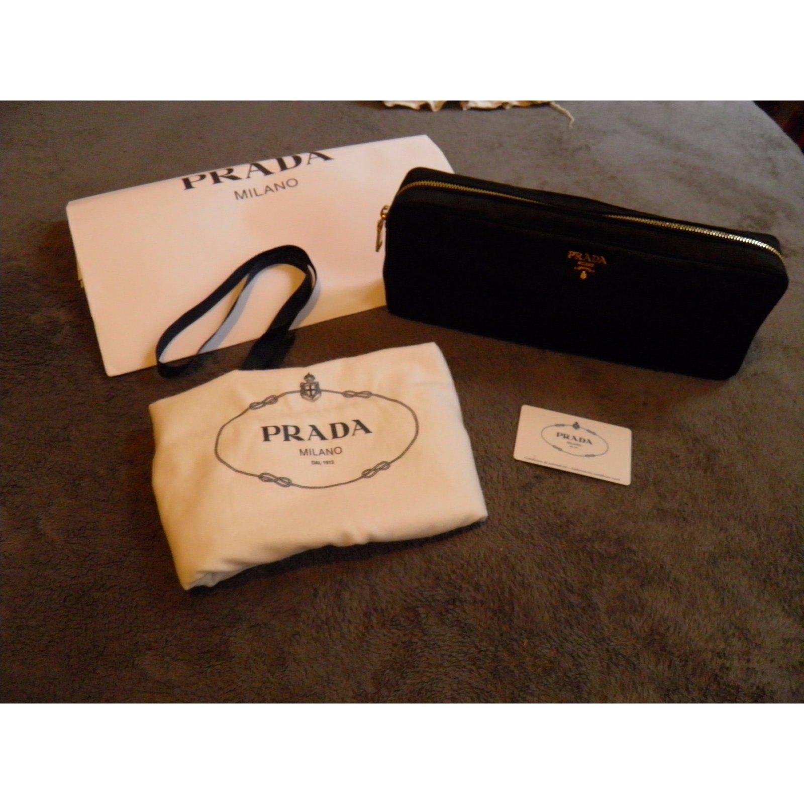 a3aa4305612cd ... spain prada clutch bags clutch bags satin black ref.54112 joli closet  3c4fa 0138e
