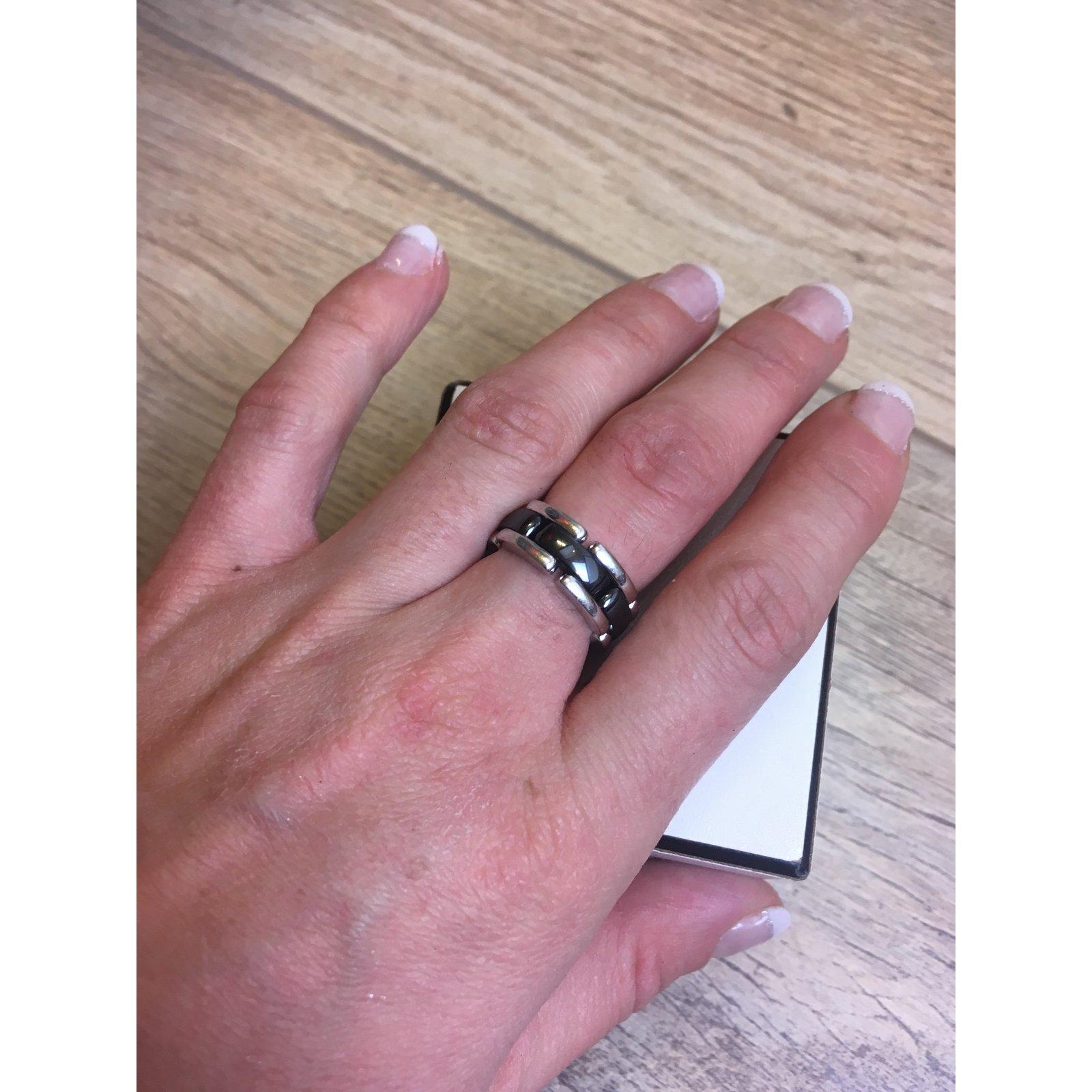 Chanel Rings Rings White gold,Ceramic Black ref.54395 - Joli Closet