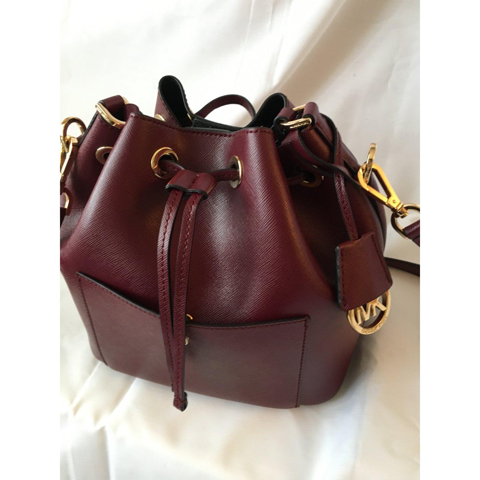 Michael Kors Greenwich Md Bucket Handbags Leather Dark Red Ref54483 Bag Authentic Joli Closet