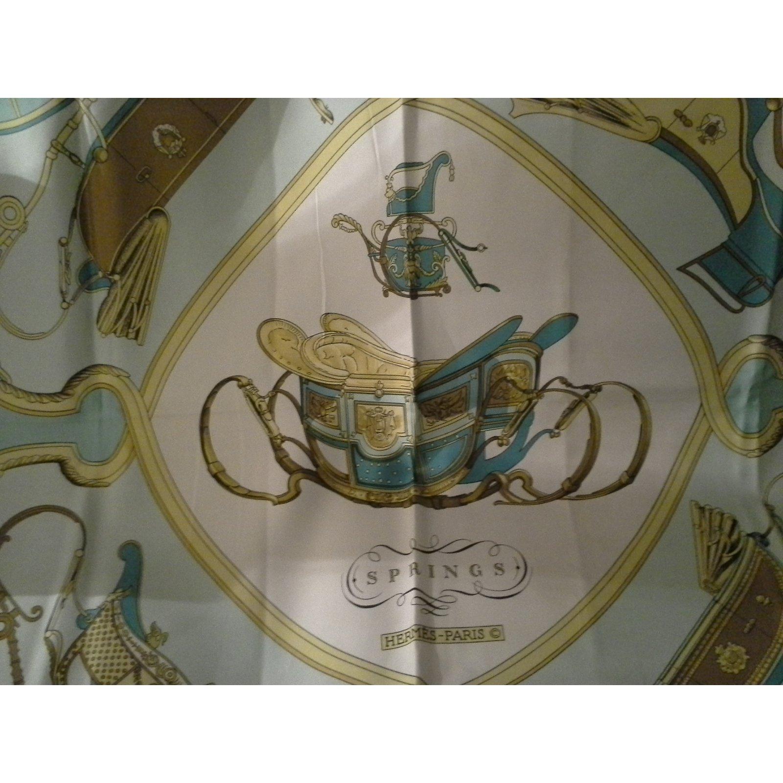 13ecea7a09 Carrés Hermès Magnifique carré en soie Hermès Paris, Springs, signé  Philippe Ledoux Soie Bleu ref.54667 - Joli Closet