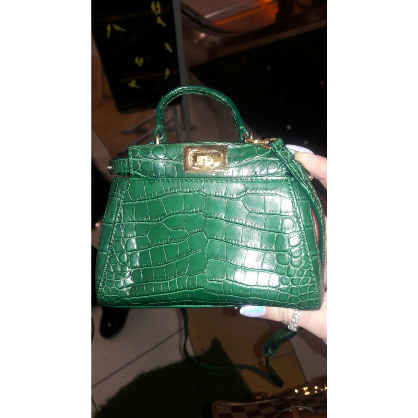 4f0799700e14 Fendi Peekaboo crocodile micro Handbags Exotic leather Green ref.55420 -  Joli Closet