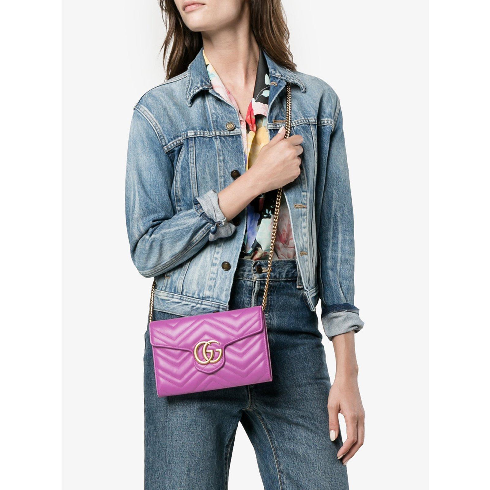 9ba83964843a Gucci Marmont Chevron Chain wallet bag Handbags Leather Blue ref.55520 -  Joli Closet