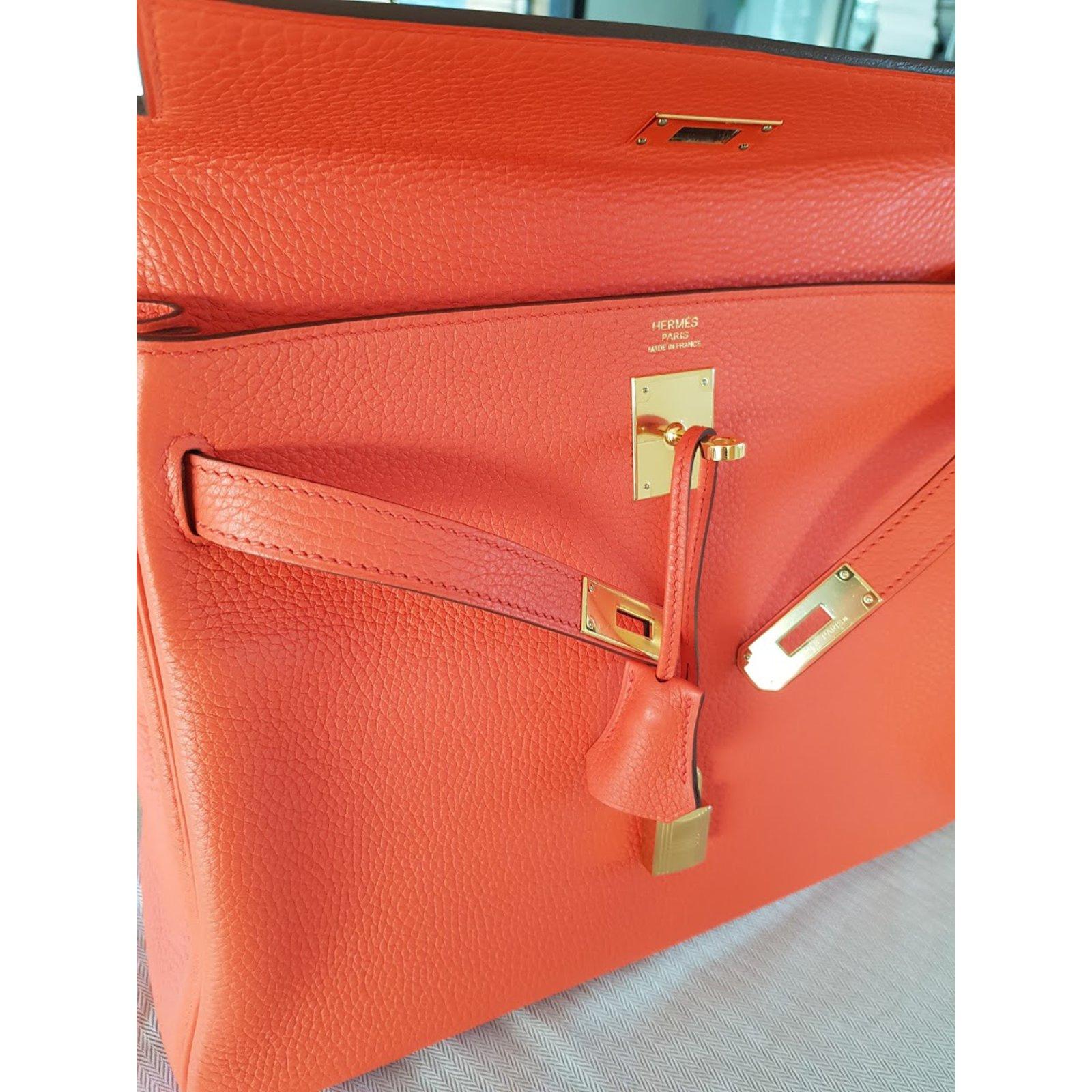 942b297f573d ... promo code for hermès kelly 32 orange poppy handbags leather other  ref.55688 joli closet