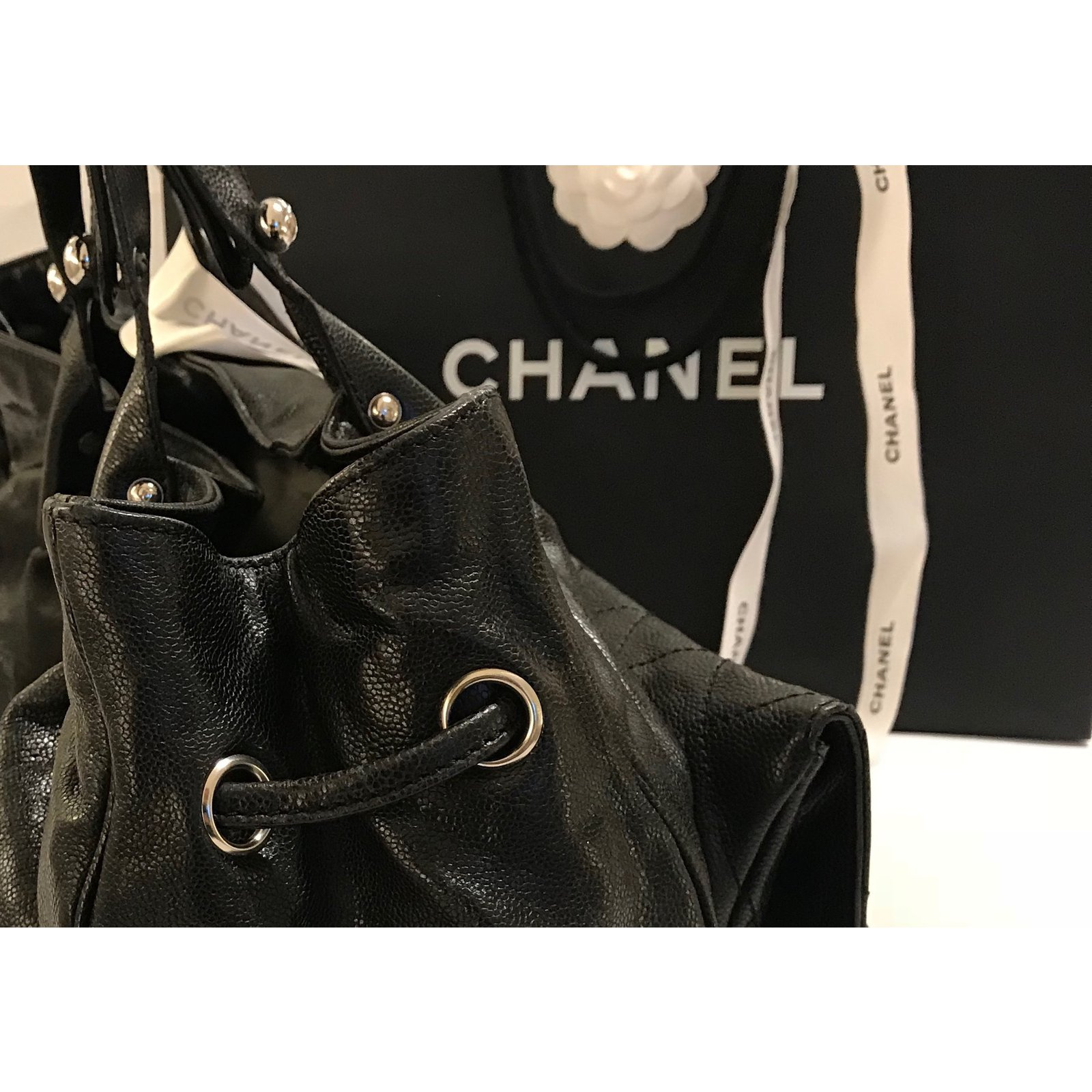 a0517b253655 Chanel CHANEL BLACK GLAZED CAVIAR POCKET-IN-THE-CITY 2.55MODEL LARGE TOTE  BAG Handbags Leather Black ref.56875 - Joli Closet