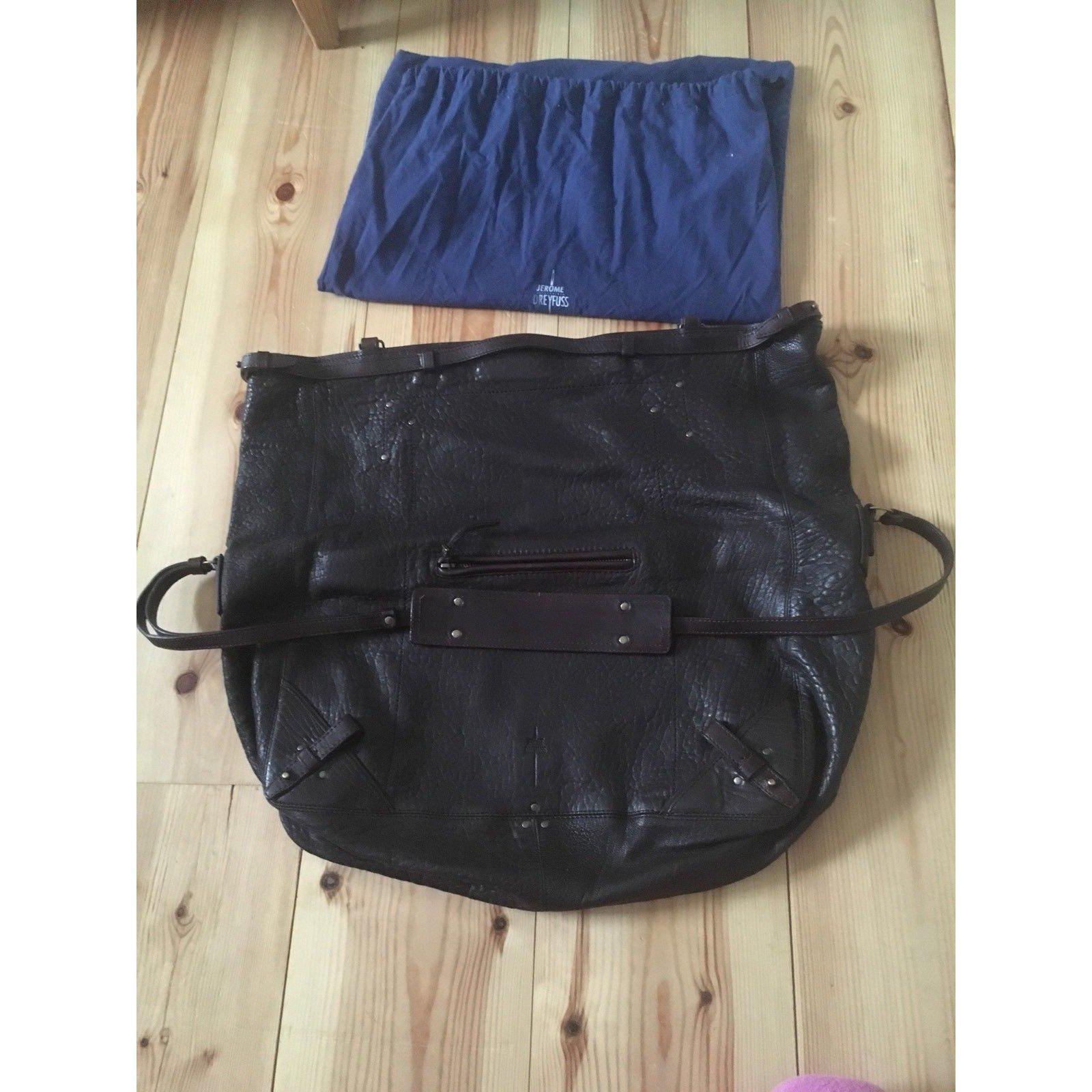 241ec8528ba4d Jerome Dreyfuss FRANKY Handbags Leather Dark brown ref.56926 - Joli Closet