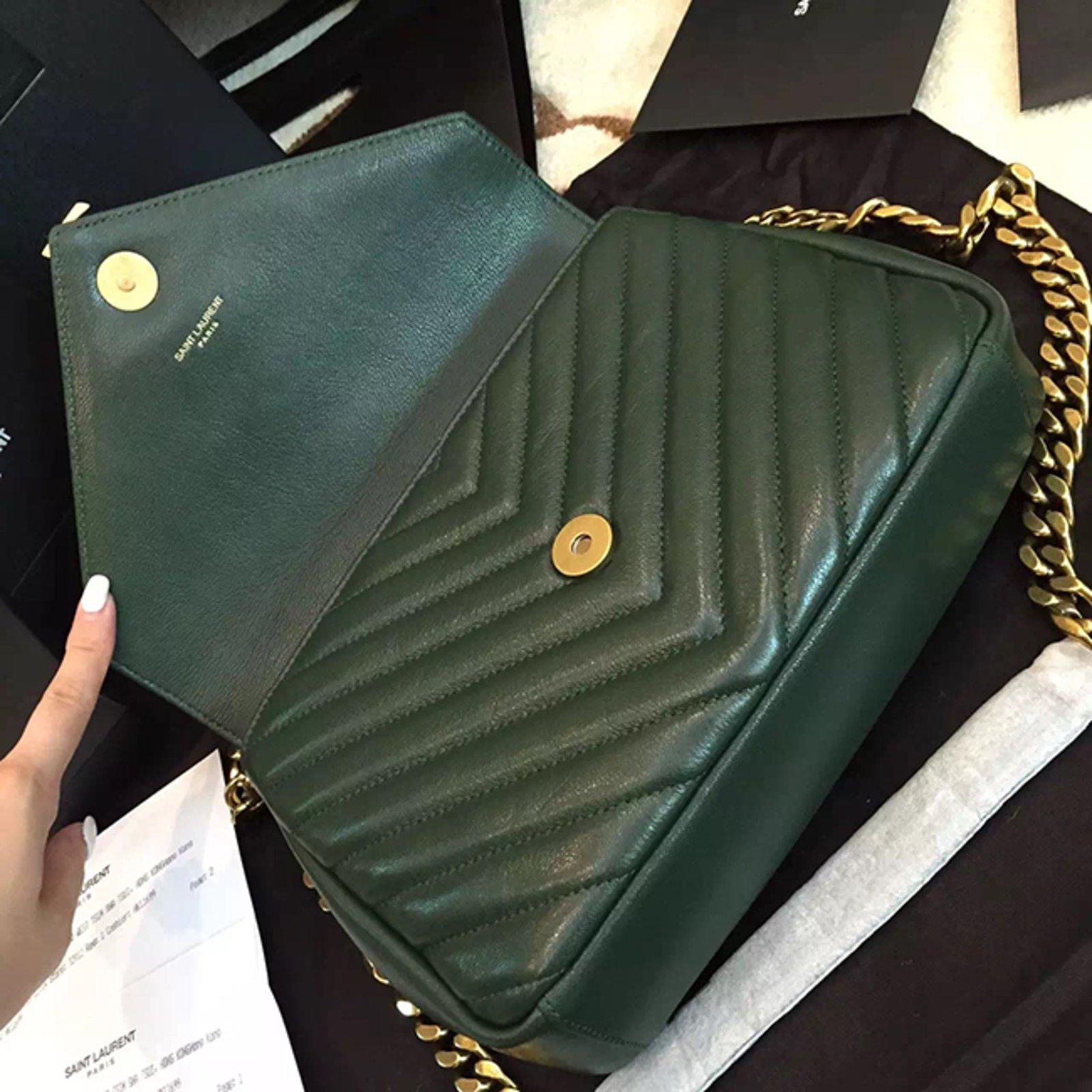 Yves Saint Laurent Ysl Green College Chain Shoulder Bag Medium