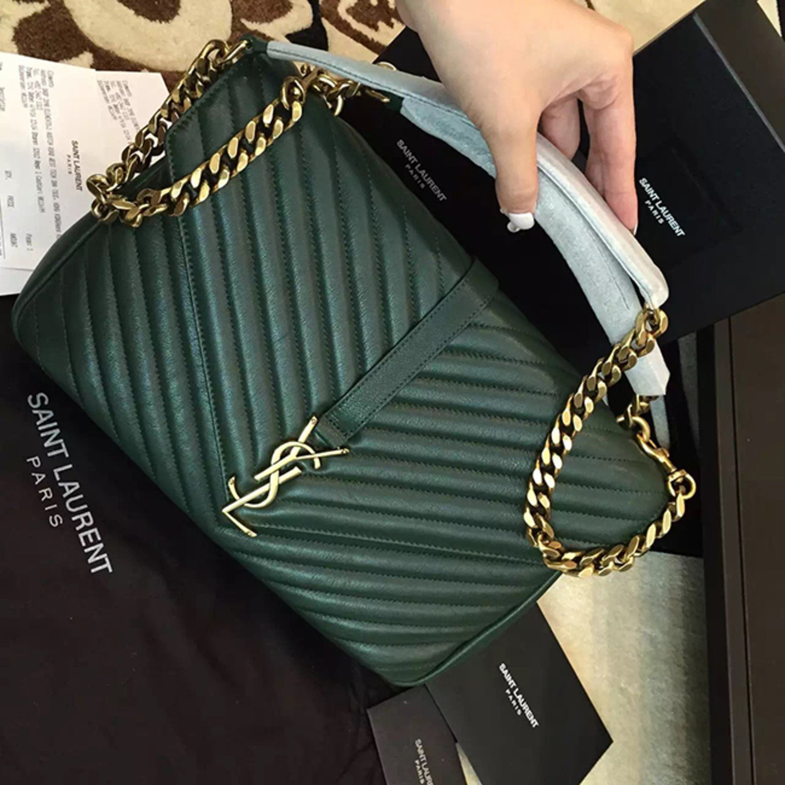 4784aec5410 Yves Saint Laurent YSL green college chain shoulder bag medium Handbags  Leather Green ref.57110 - Joli Closet